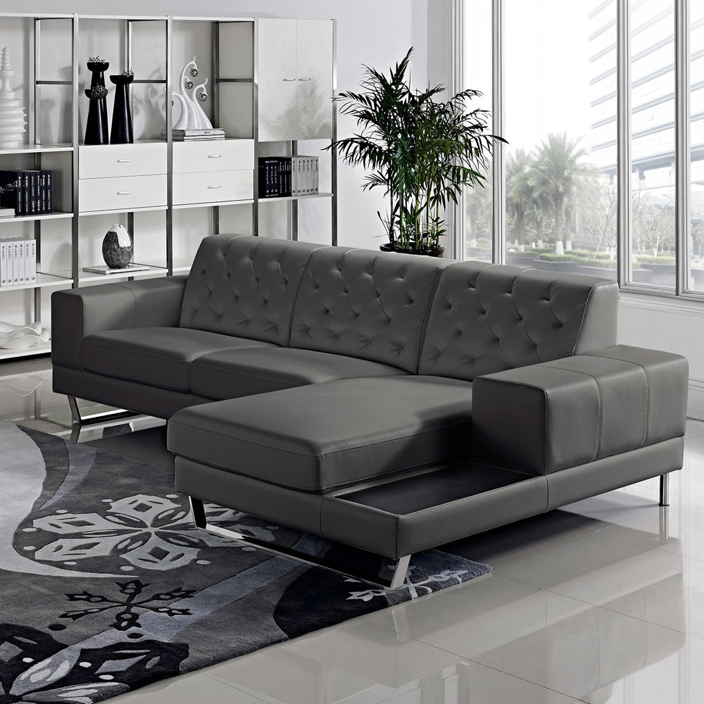 Stella Contemporary Chaise Leather Sectional Sofa Set Free Shipping Today 9294091