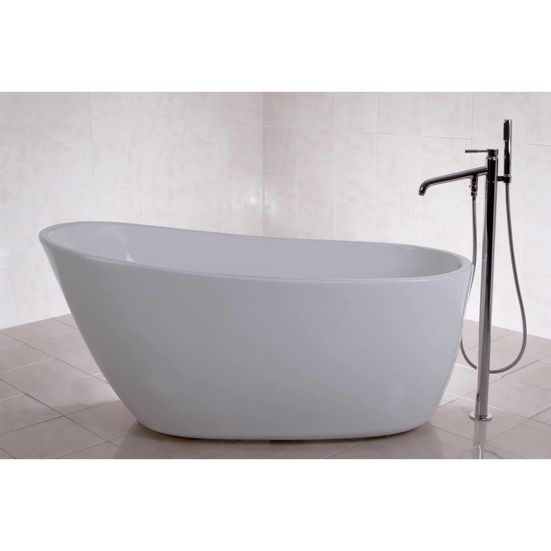 Shop Fusion Freestanding 59-inch Acrylic Bathtub - Free Shipping ...