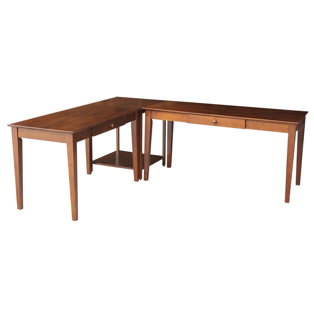 Basic 3 Piece Large Espresso Desks Connecting Table Set Free Shipping Today 9310072