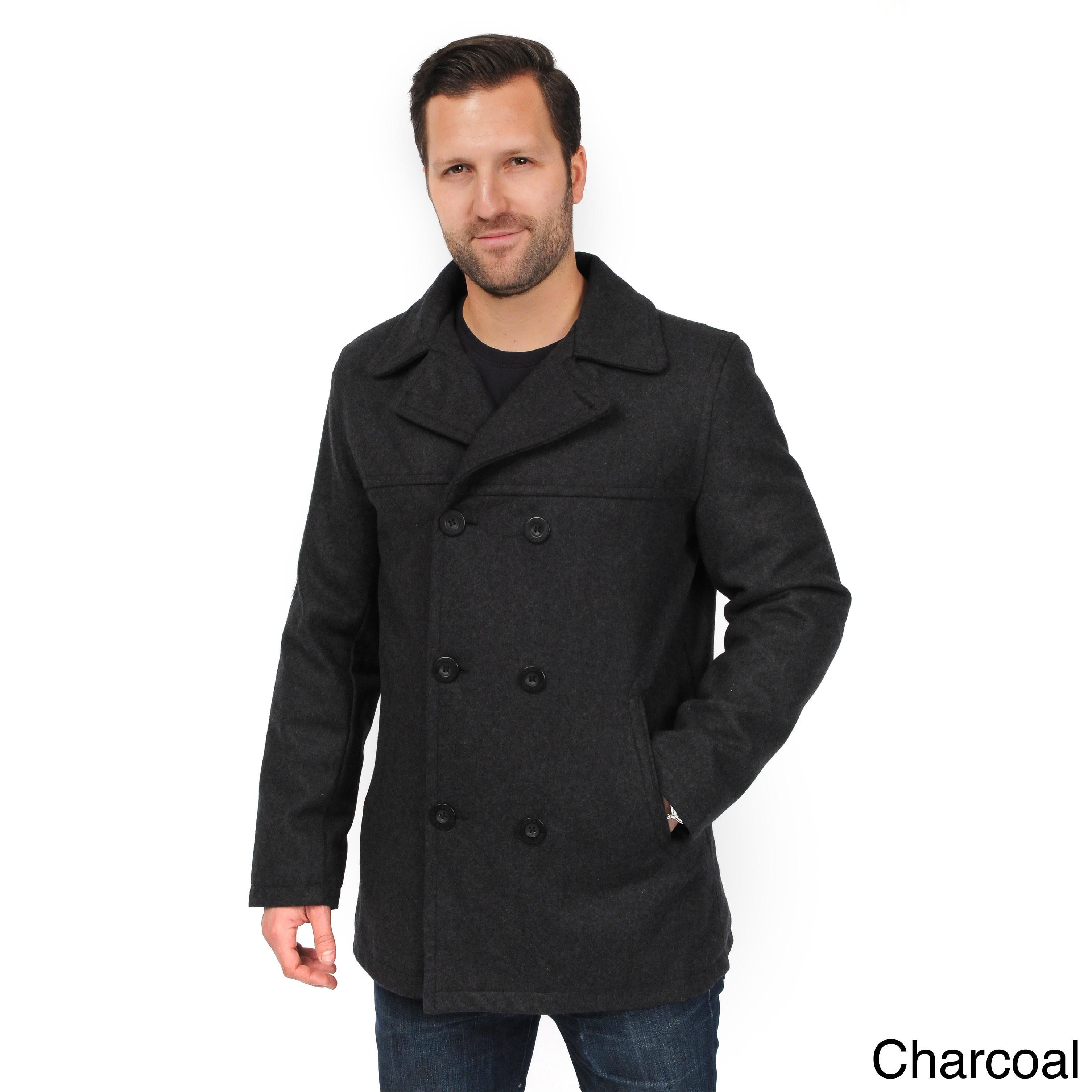 b25fbf0b08bc Shop EXcelled Men s Double Breasted Tall Peacoat - Free Shipping ...