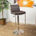Brushed Stainless Steel Adjustable Height Swivel Bar Stool with Round Base