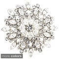 Cubic Zirconia Flower Wedding Pin Brooch