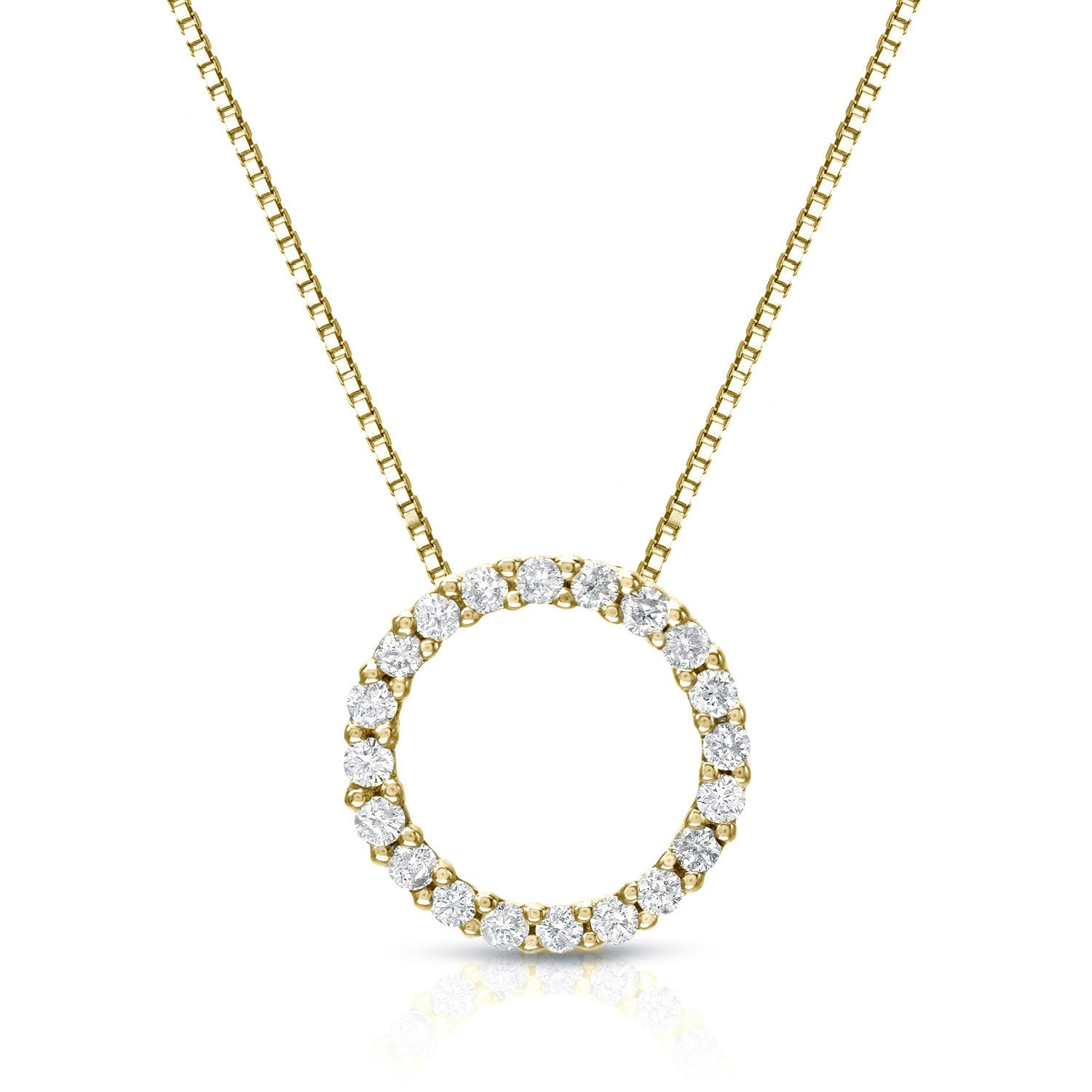Auriya 14k yellow gold diamond circle necklace free shipping auriya 14k yellow gold diamond circle necklace free shipping today overstock 16472176 aloadofball Image collections