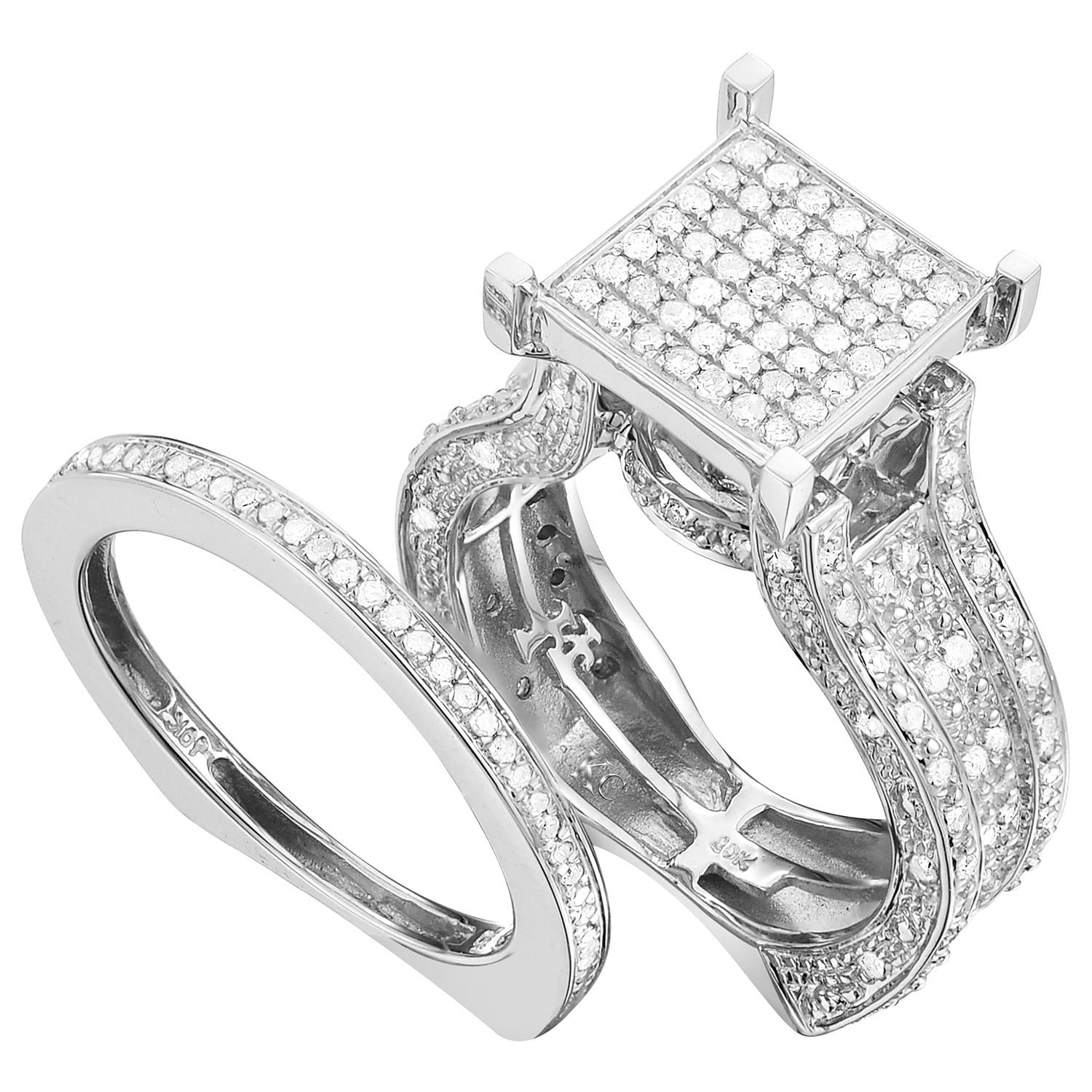 rings amazon com ctw baguette gold round white wedding diamond in pin band