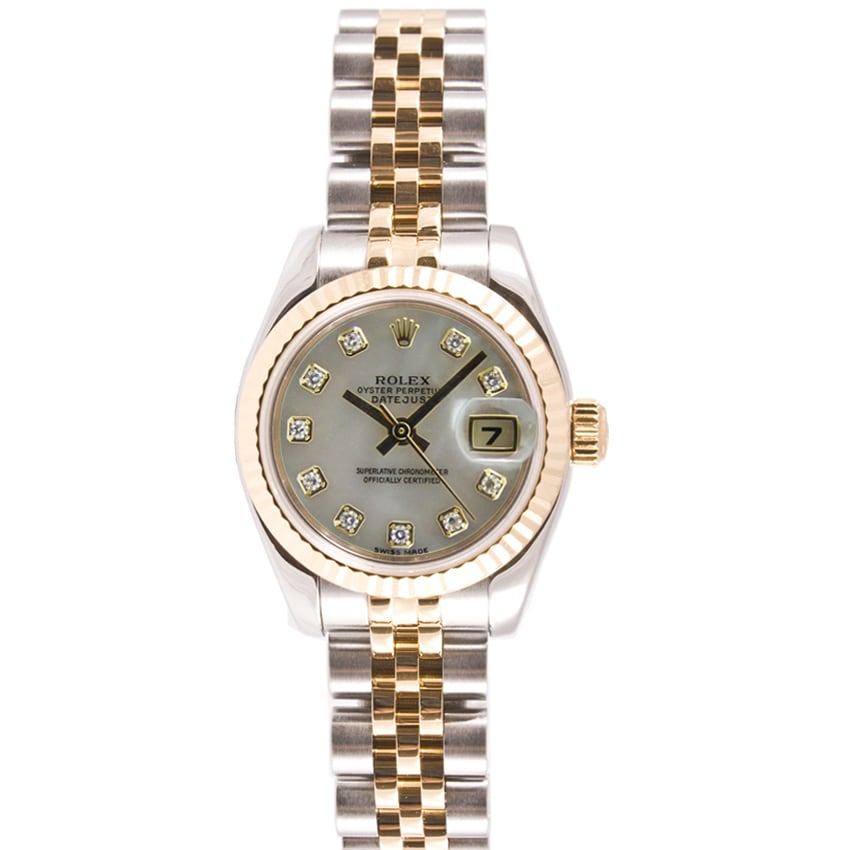 7625501bbc5 Shop Pre-Owned Rolex Women s Two-tone Mother Of Pearl Diamond Dial ...