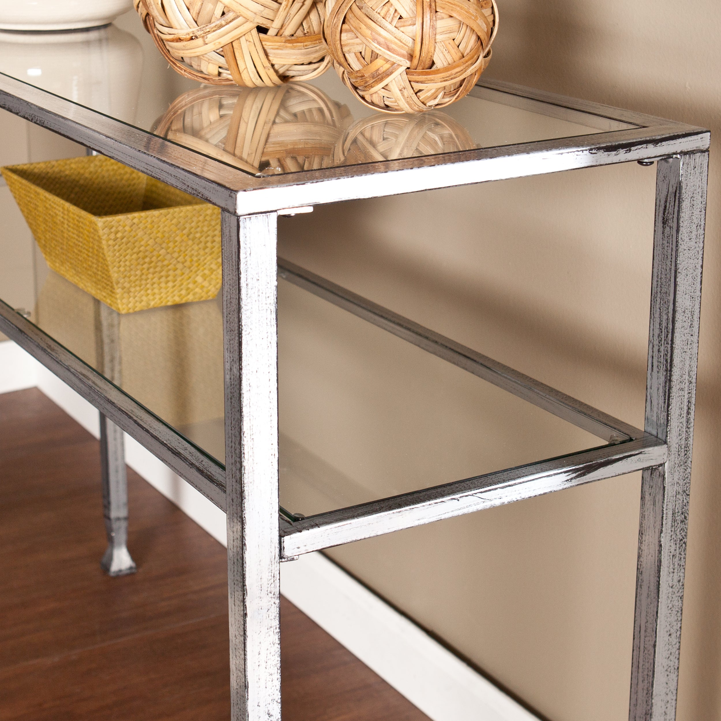 Harper Blvd Silver Metal and Glass Console Table - Free Shipping Today -  Overstock.com - 16476009