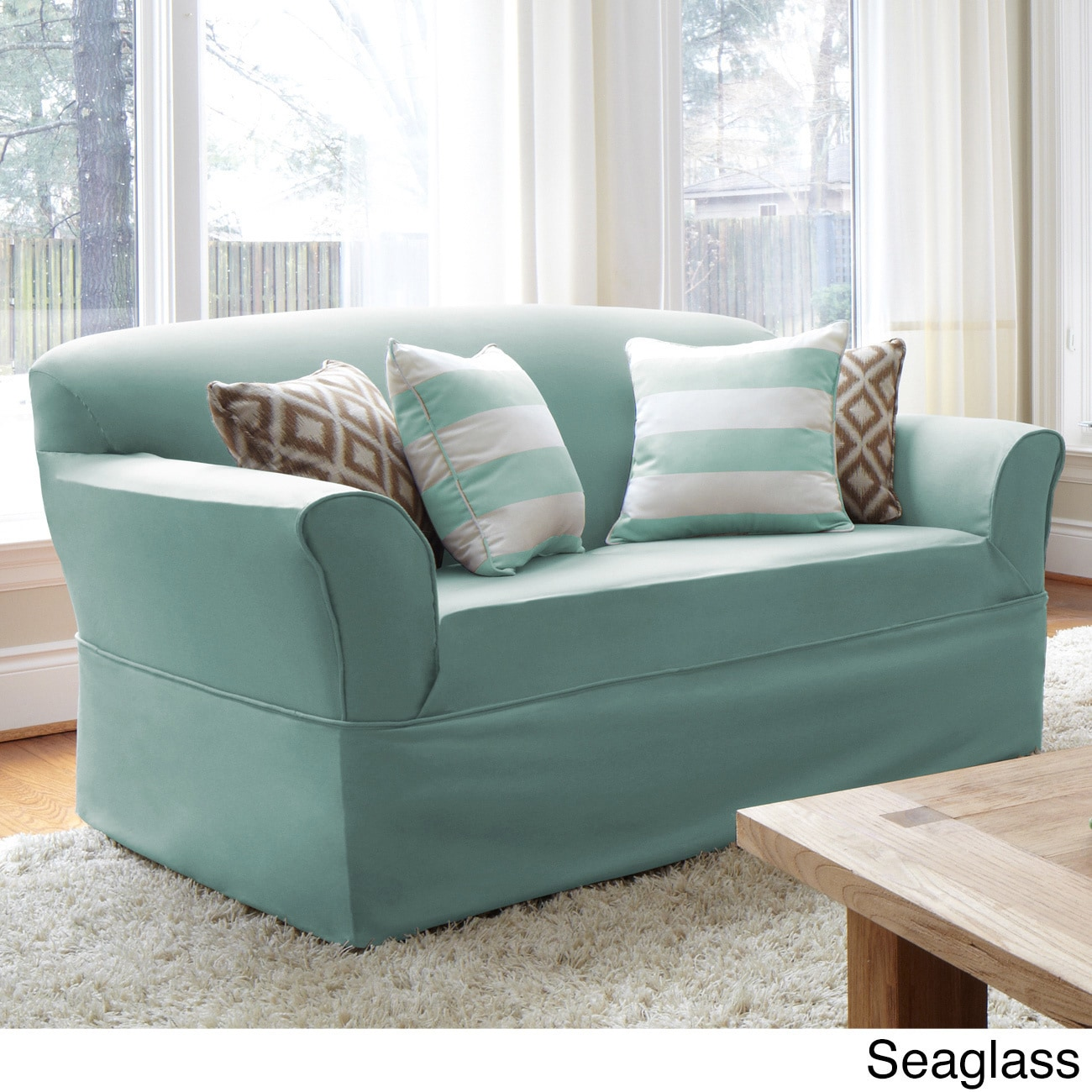 Quickcover Twill One Piece Relaxed Fit Wrap Sofa Slipcover Free  ~ Turquoise Slipcover Sofa