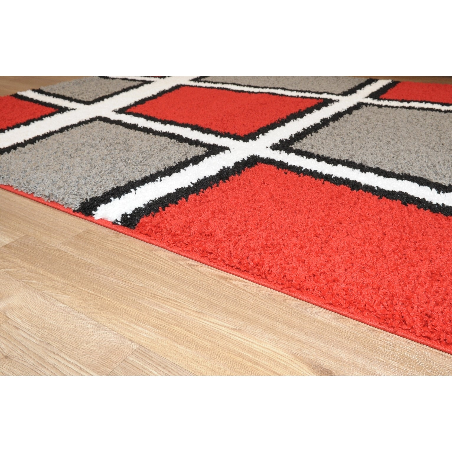 Maxy Home Geometric Tile Design Red Black White Grey Area Rug 5 X 7 Free Shipping Today 16476539