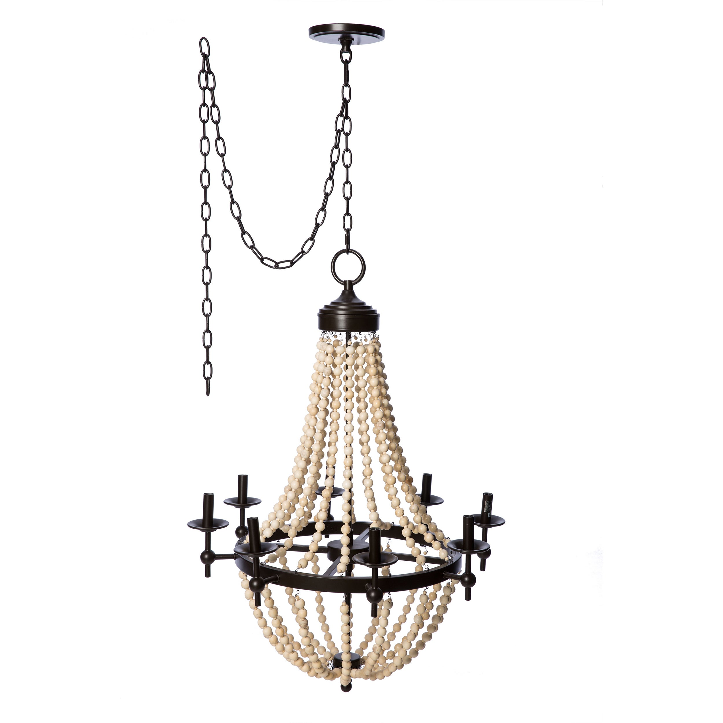 Sonoma Natural Beaded Black 8-light Chandelier - Free Shipping Today -  Overstock.com - 16476919