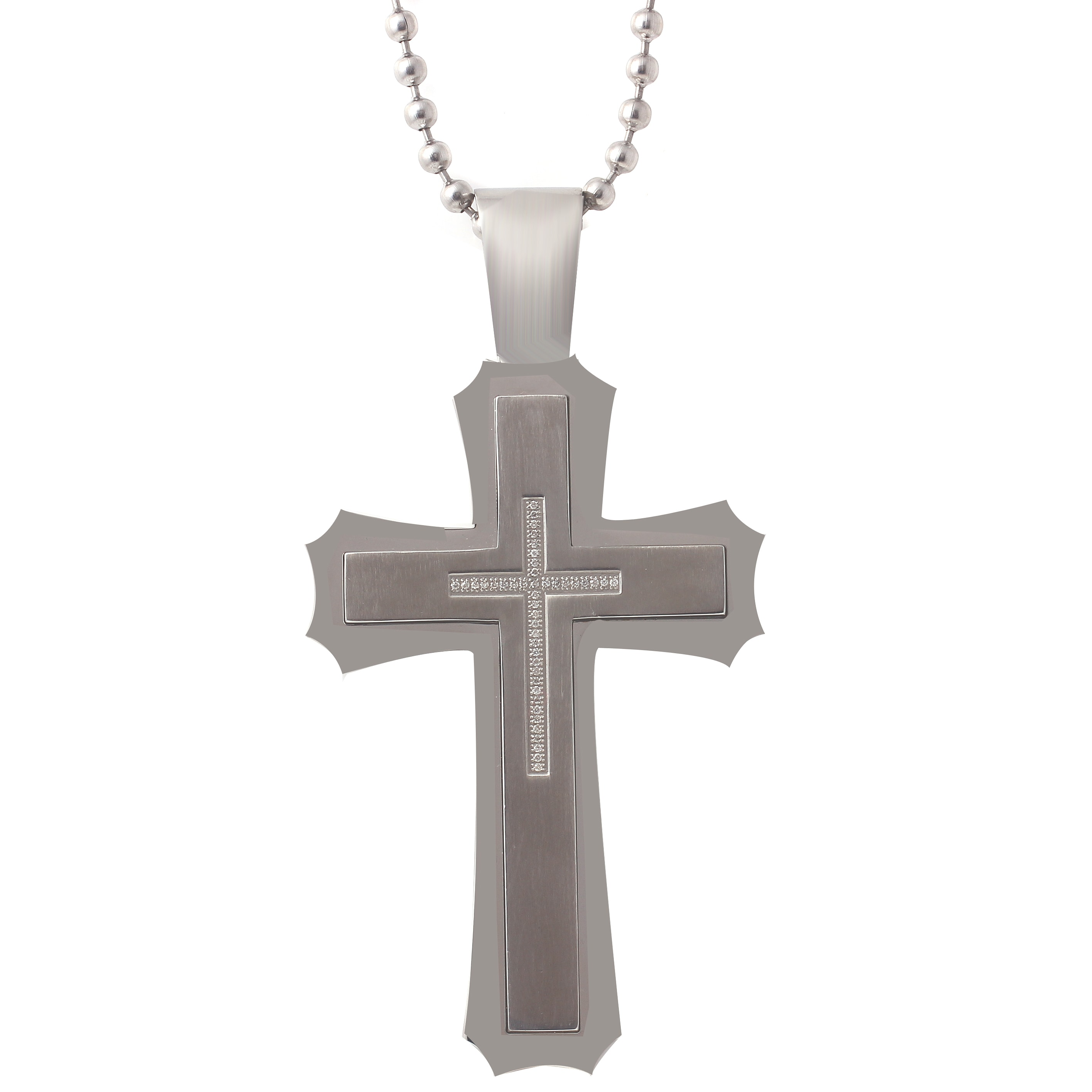 Large stainless steel mens 14ct tdw diamond cross pendant necklace large stainless steel mens 14ct tdw diamond cross pendant necklace free shipping today overstock 16476988 mozeypictures Image collections