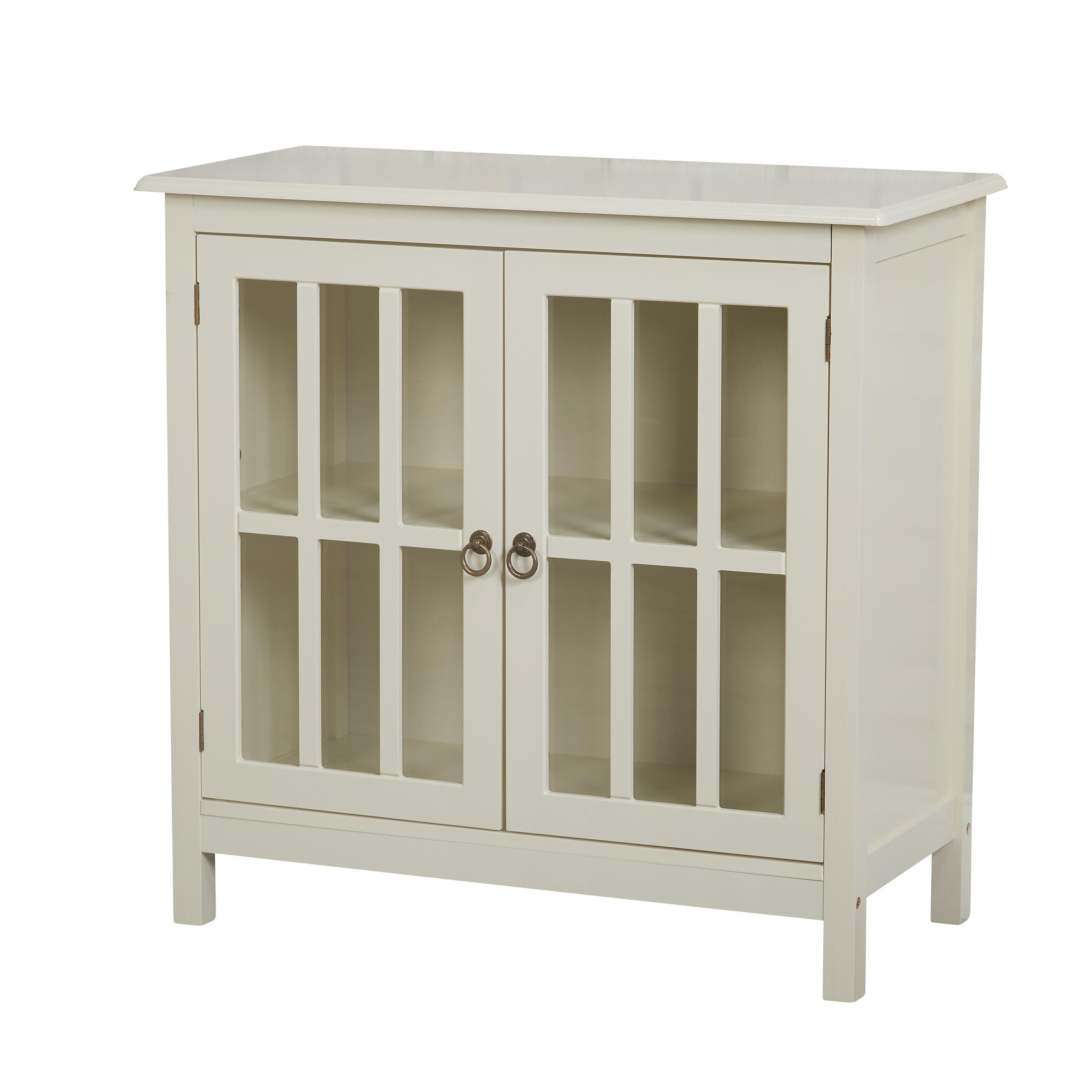 Shop Simple Living Portland Glass Door Cabinet Na On Sale
