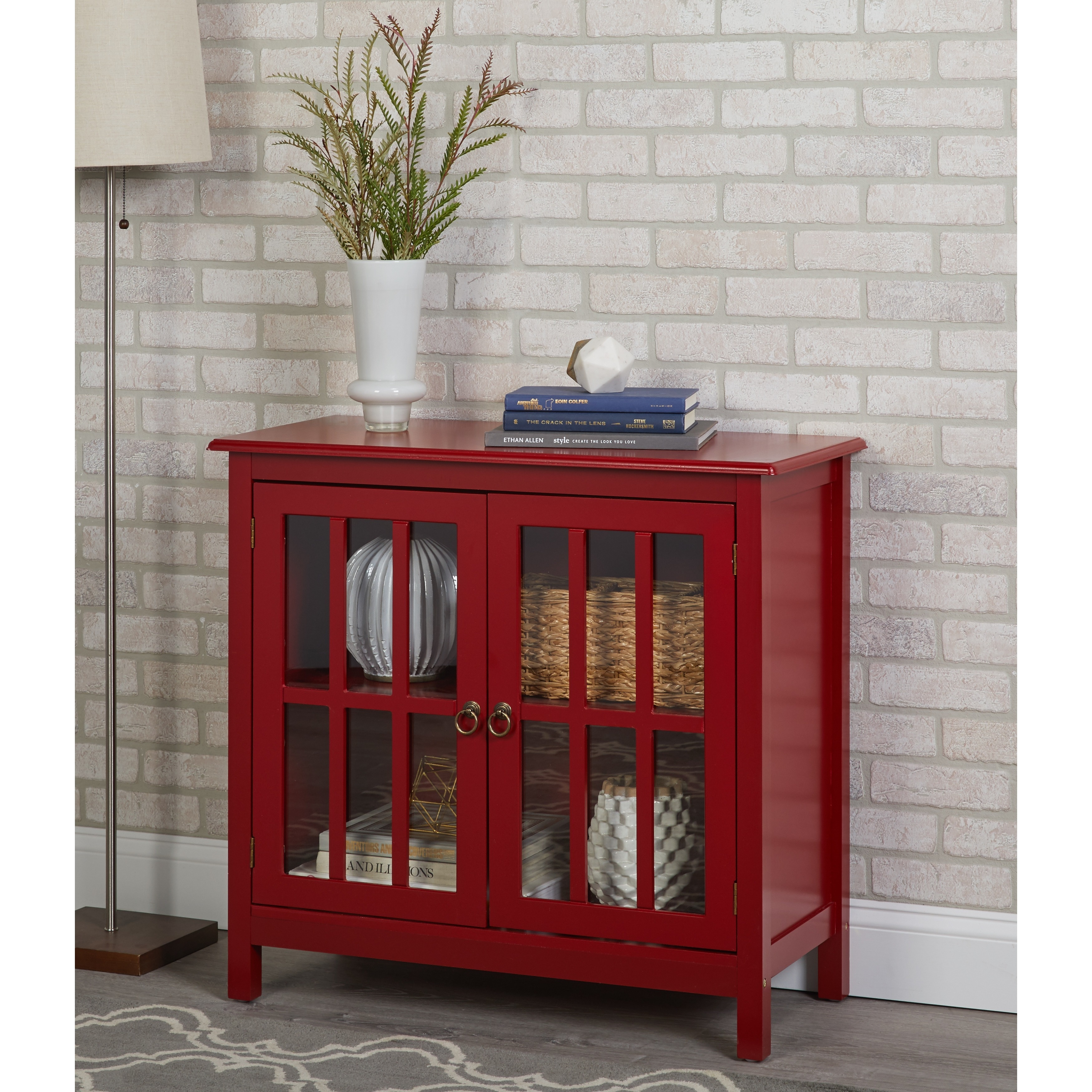 Shop Simple Living Portland Glass Door Cabinet Na On Sale