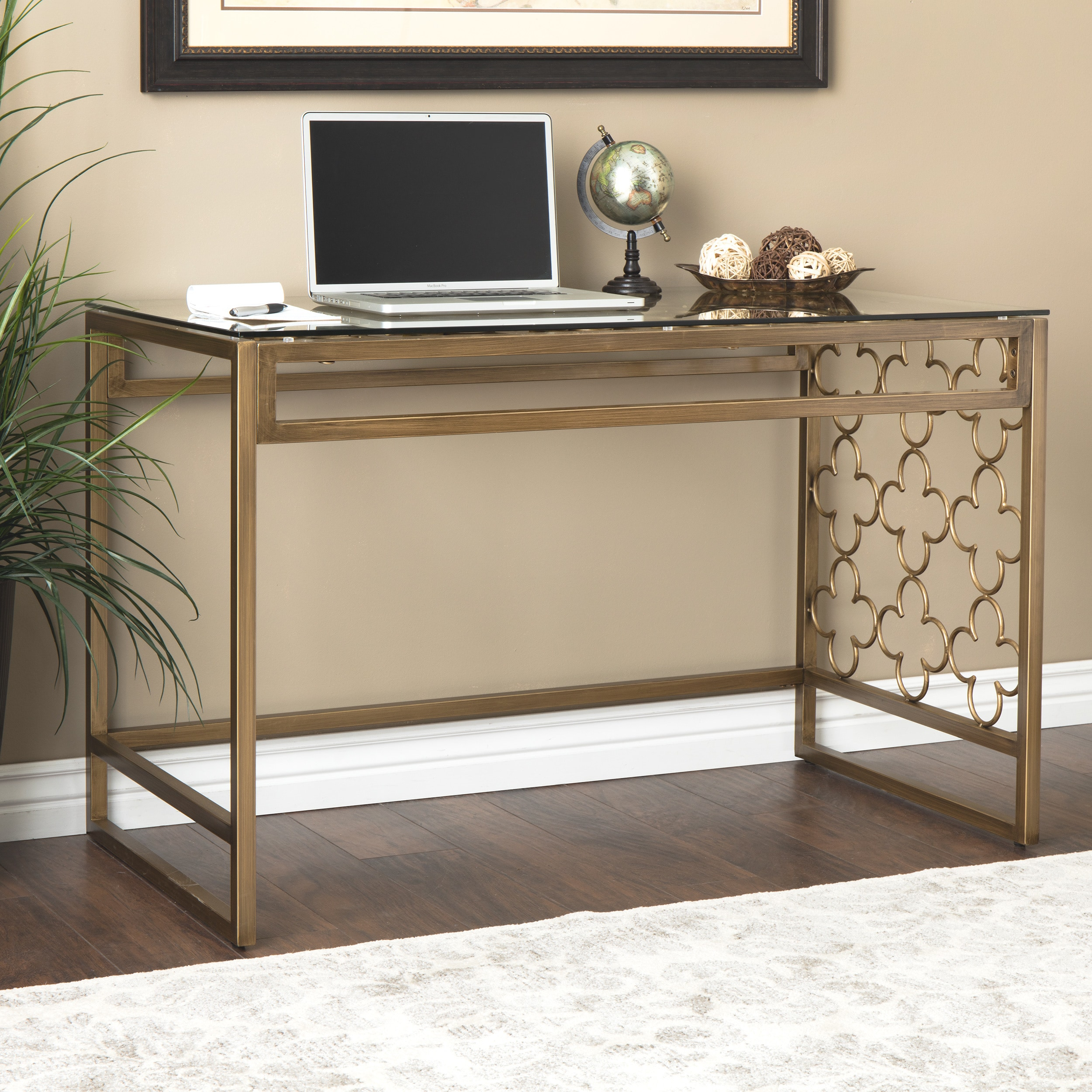 Shop The Curated Nomad Quatrefoil Goldtone Metal And Glass Writing Desk    Free Shipping Today   Overstock.com   9318367