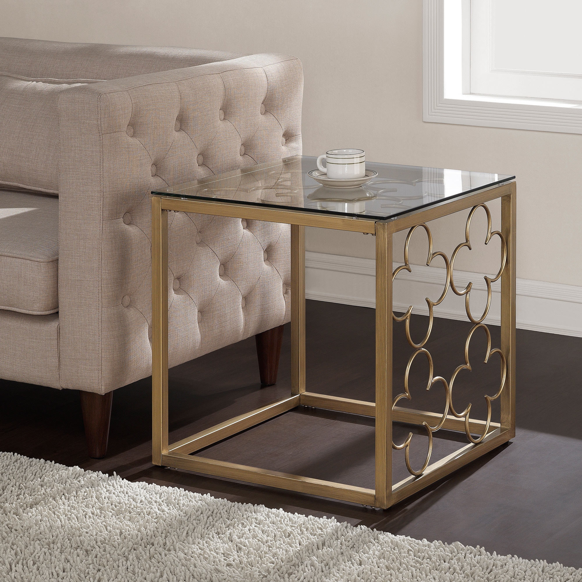 Quatrefoil Goldtone Metal and Glass End Table Free Shipping