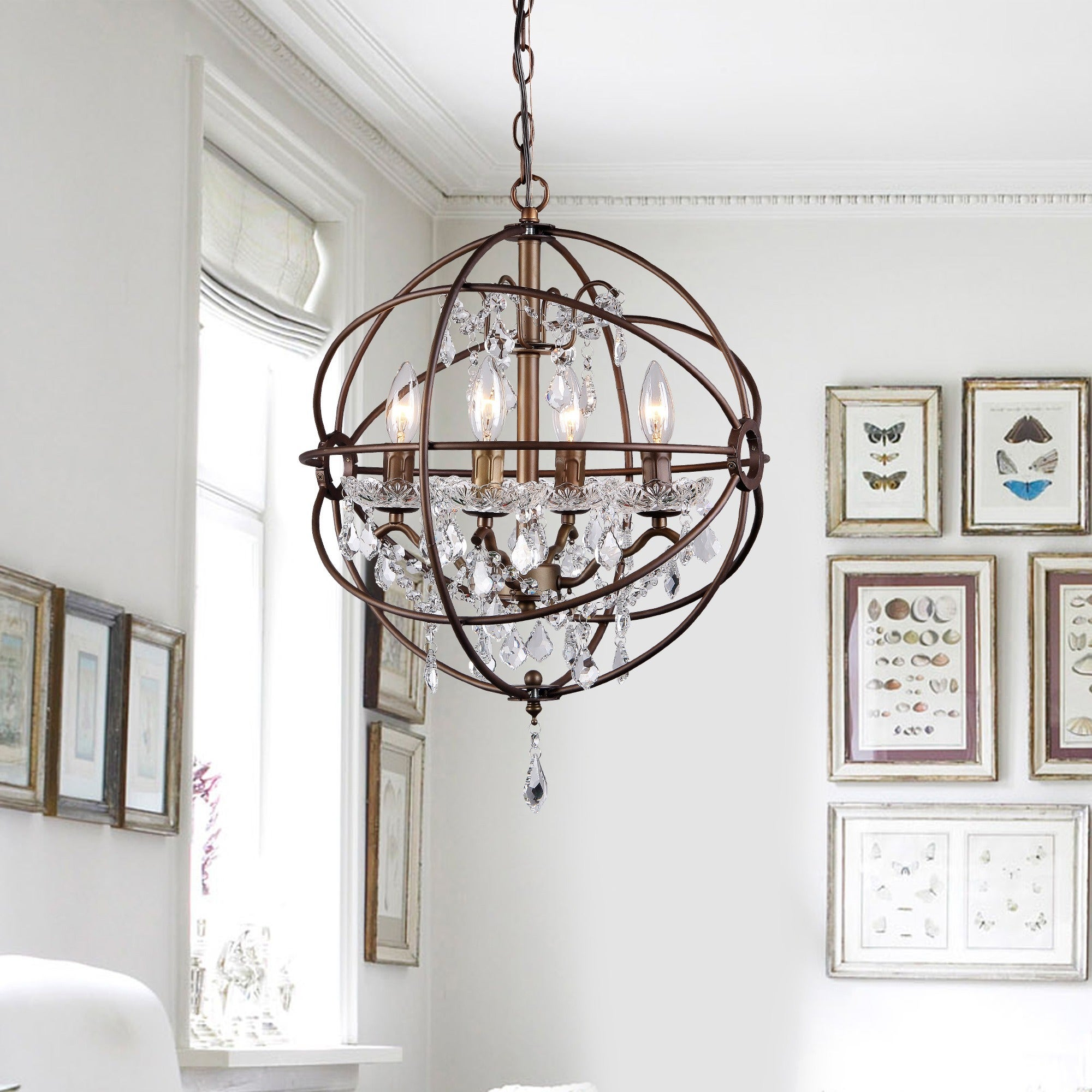 Shop Edwards Antique Bronze And Crystal 24 Inch Sphere Chandelier Electrical Wiring Diagram On Sale Free Shipping Today 9318930
