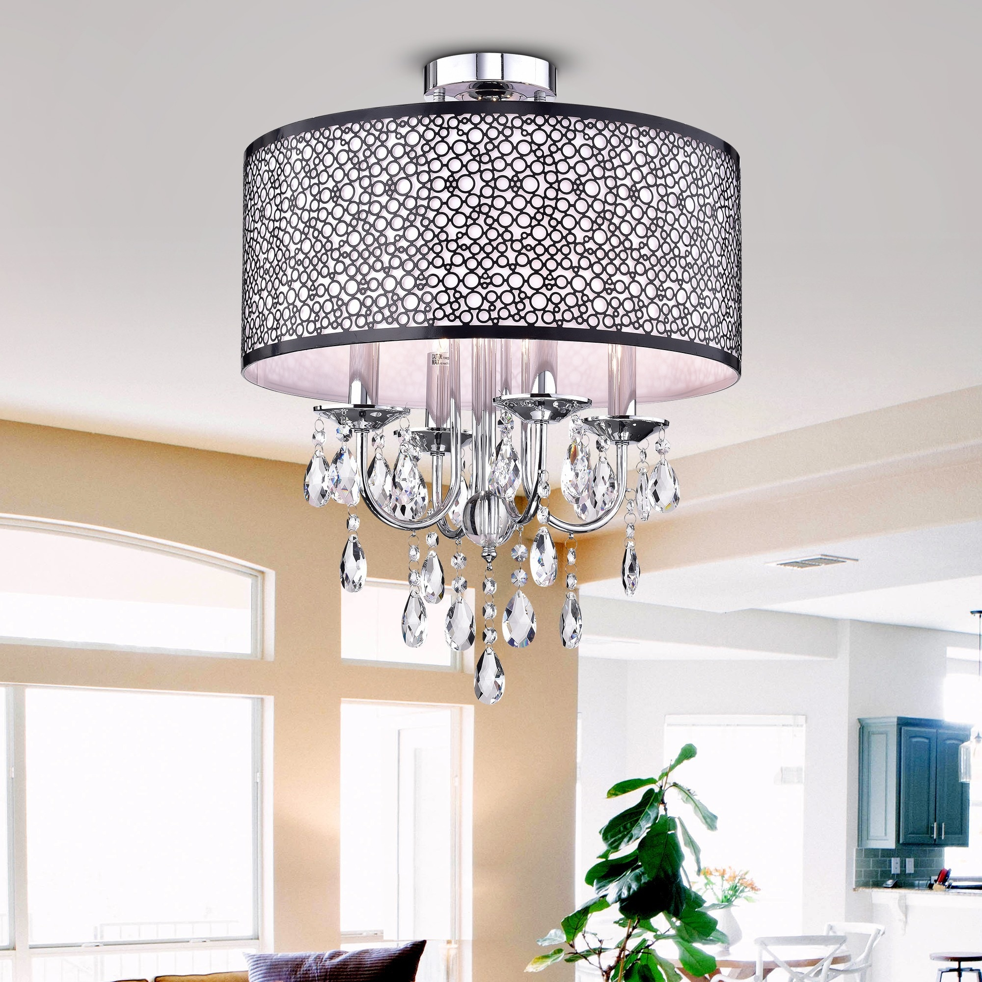 Shop Shane Chrome and Crystal Round Shade Flush-mount 4-light ...