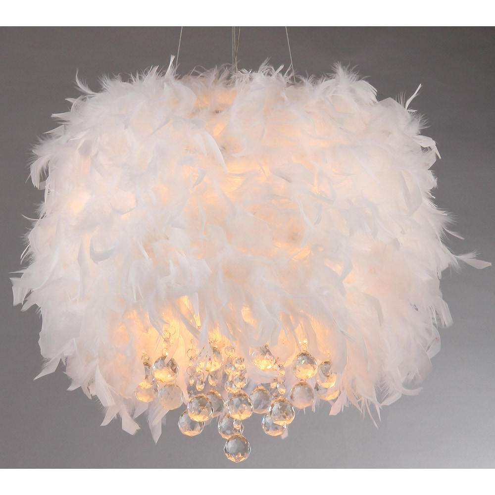 Iglesias Fluffy White Feathers and Crystal 3-light Pendant - Free Shipping  Today - Overstock.com - 16479096