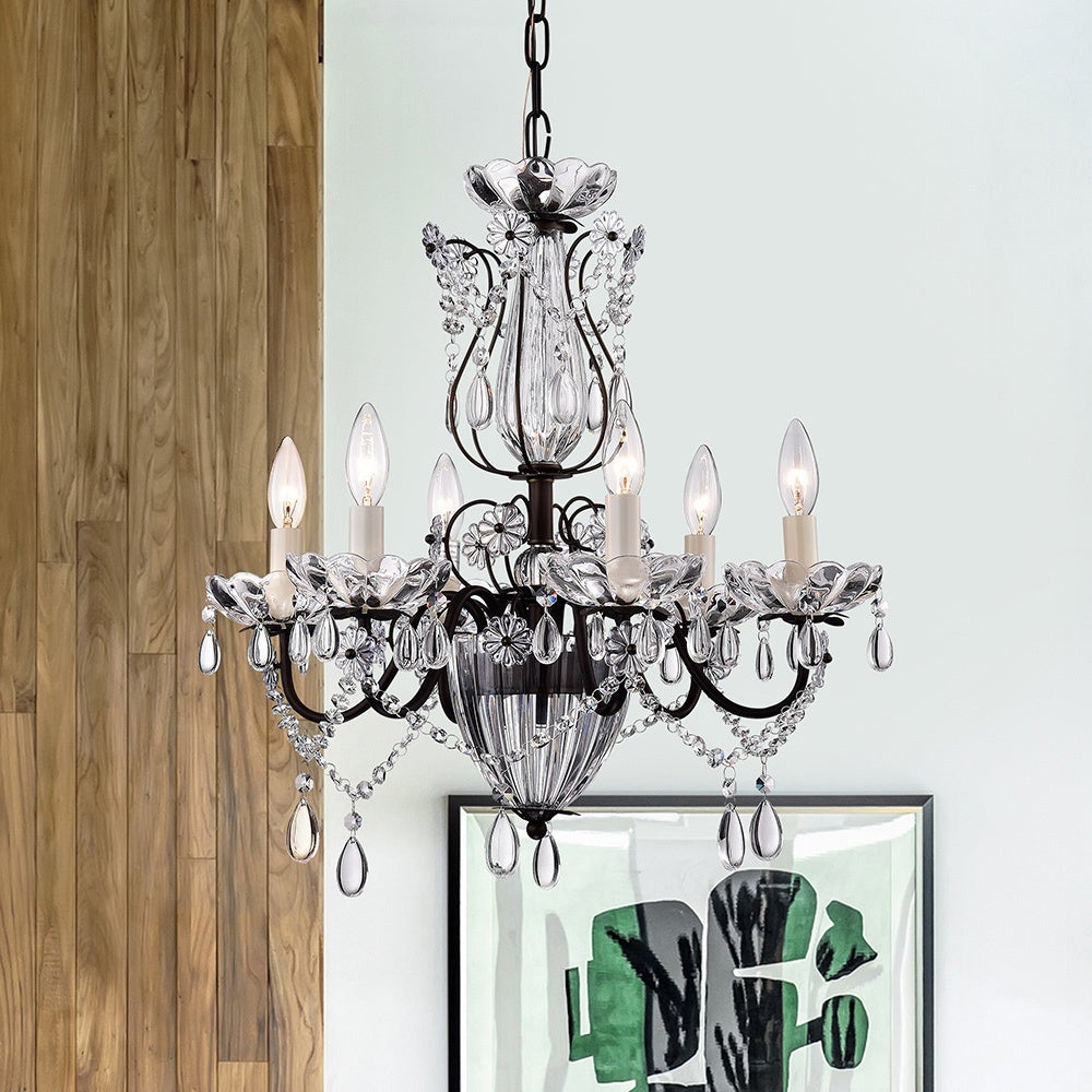 Frankenstein Antique Bronze And Crystal 6 Light Chandelier On Free Shipping Today 9318992