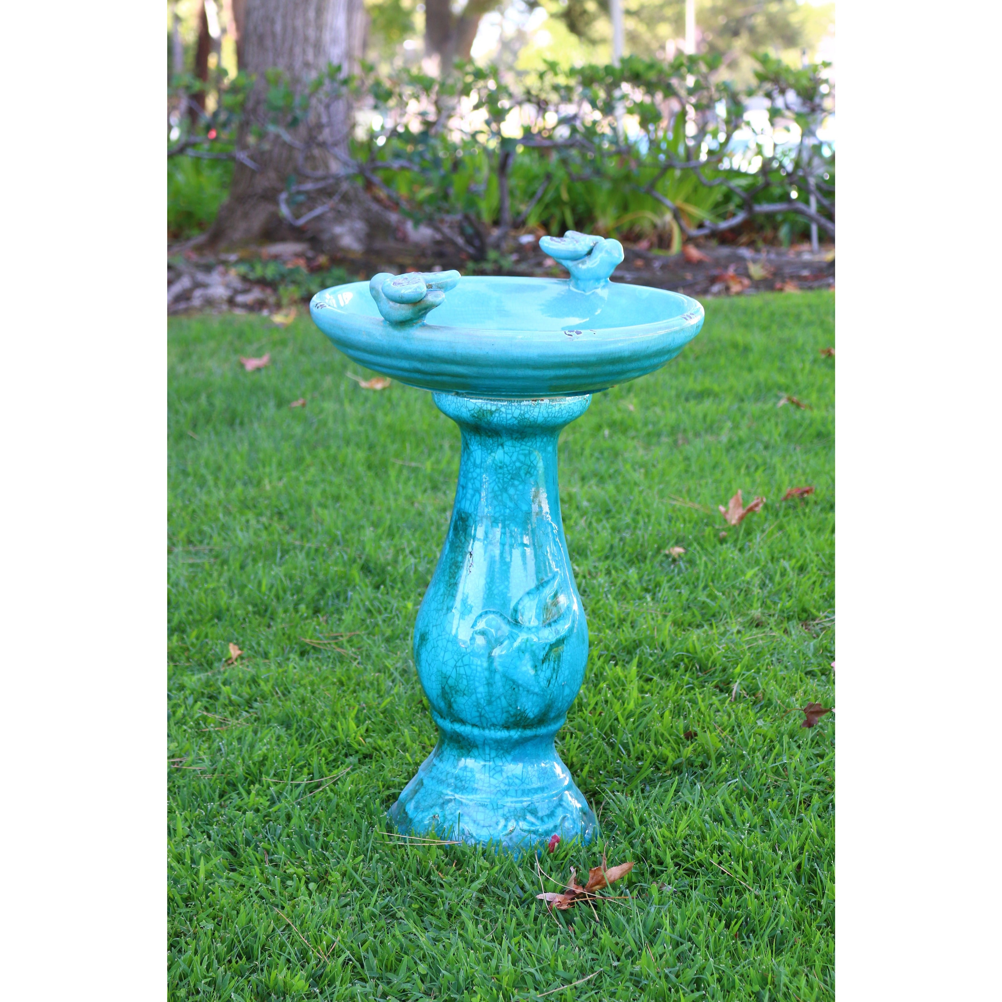Shop Turquoise Antique Ceramic Bird Bath with Two Birds - Free ...