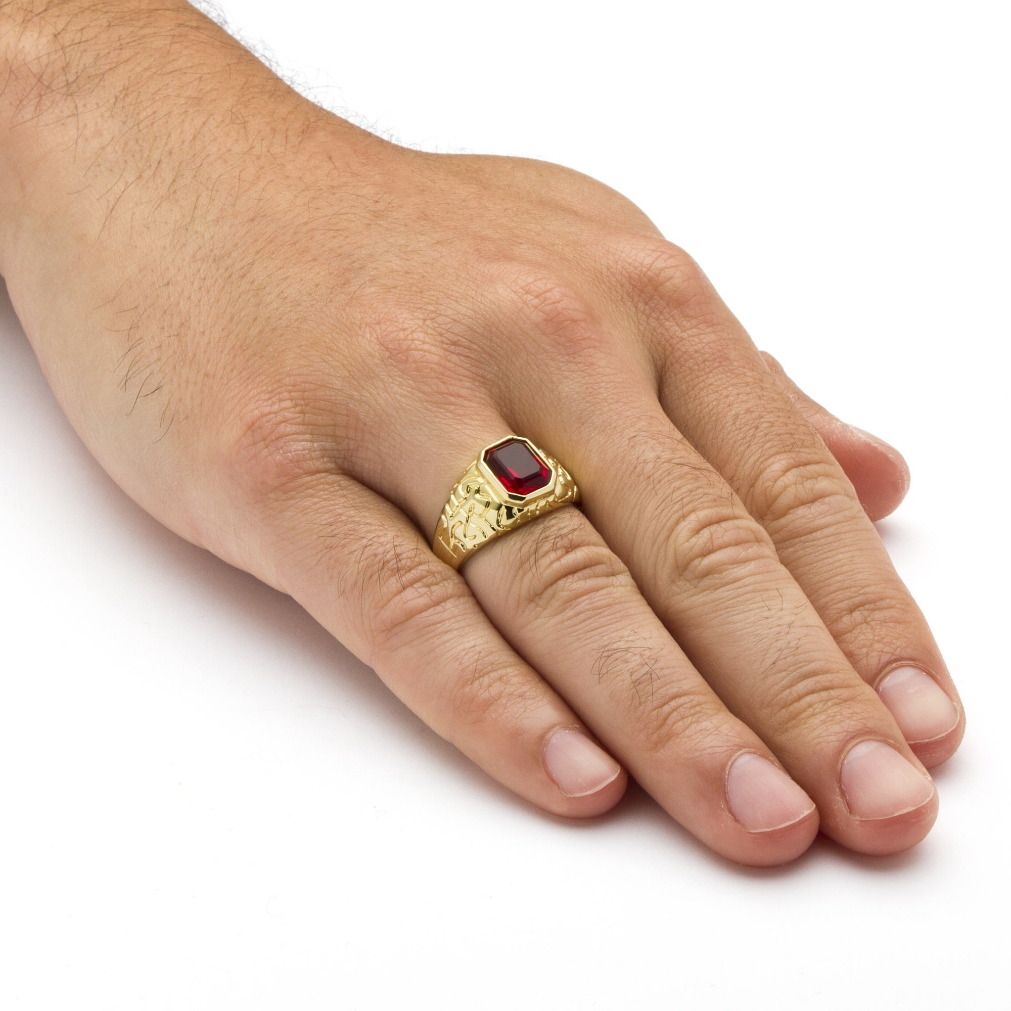 Very Men's Emerald-Cut Simulated Ruby Nugget-Style Ring 14k Yellow Gold  HT52