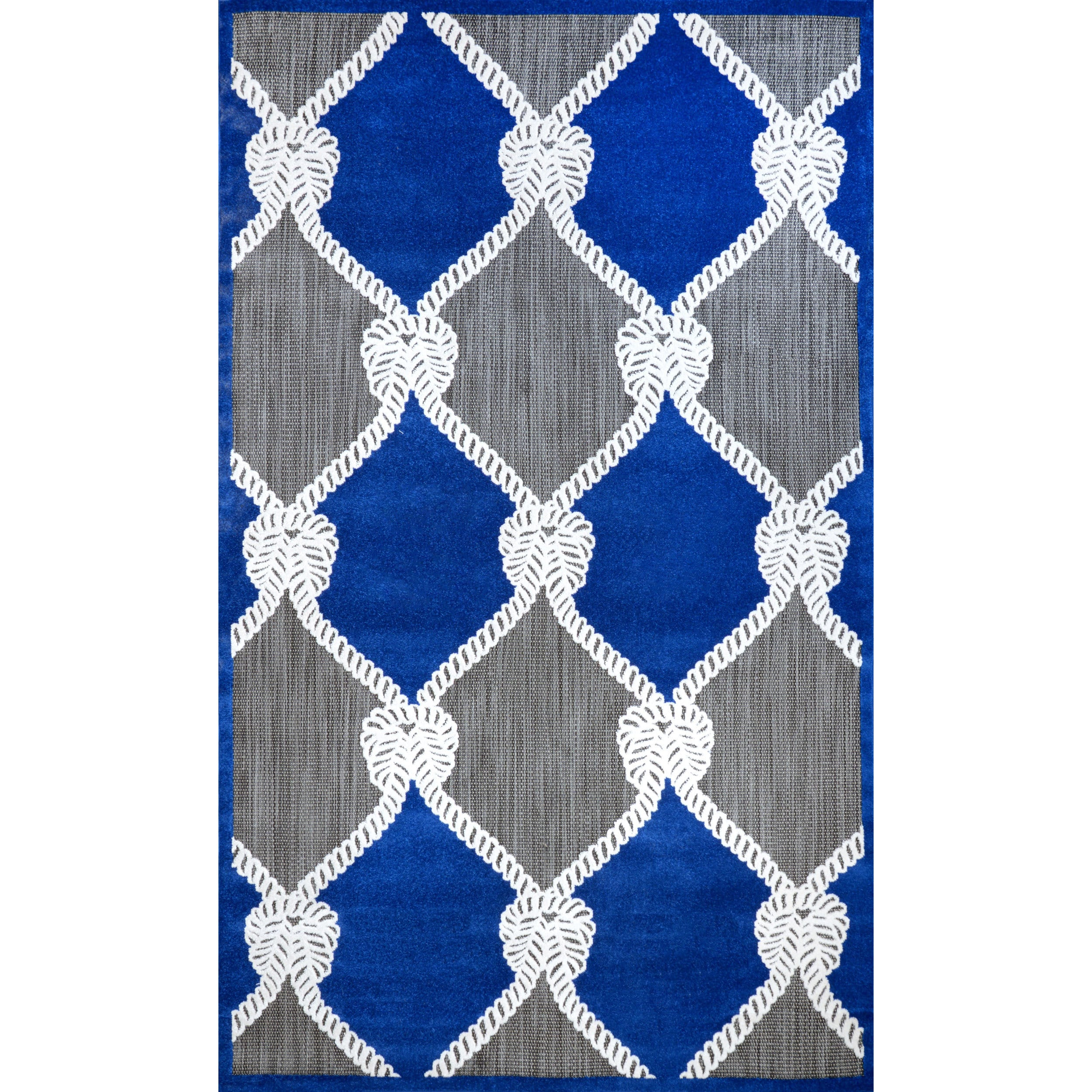 nuLOOM Indoor Outdoor Nautical Ropes Porch Blue Rug 5 x 8