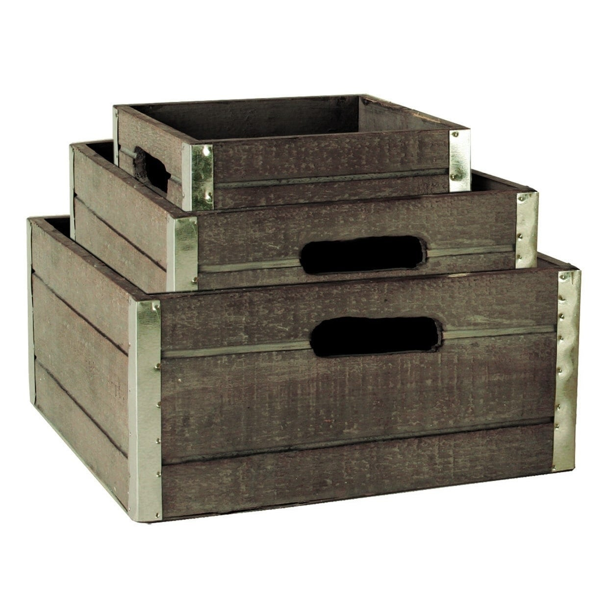 Shop Wald Imports 3 Piece Reinforced Classic Grey Wash Wood Storage Crate  Set   Free Shipping On Orders Over $45   Overstock.com   9320259