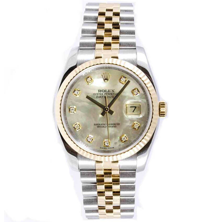 0999531e834 Pre-Owned Rolex Men s Datejust Steel and 18k Yellow Gold Diamond Dial Watch  - Silver
