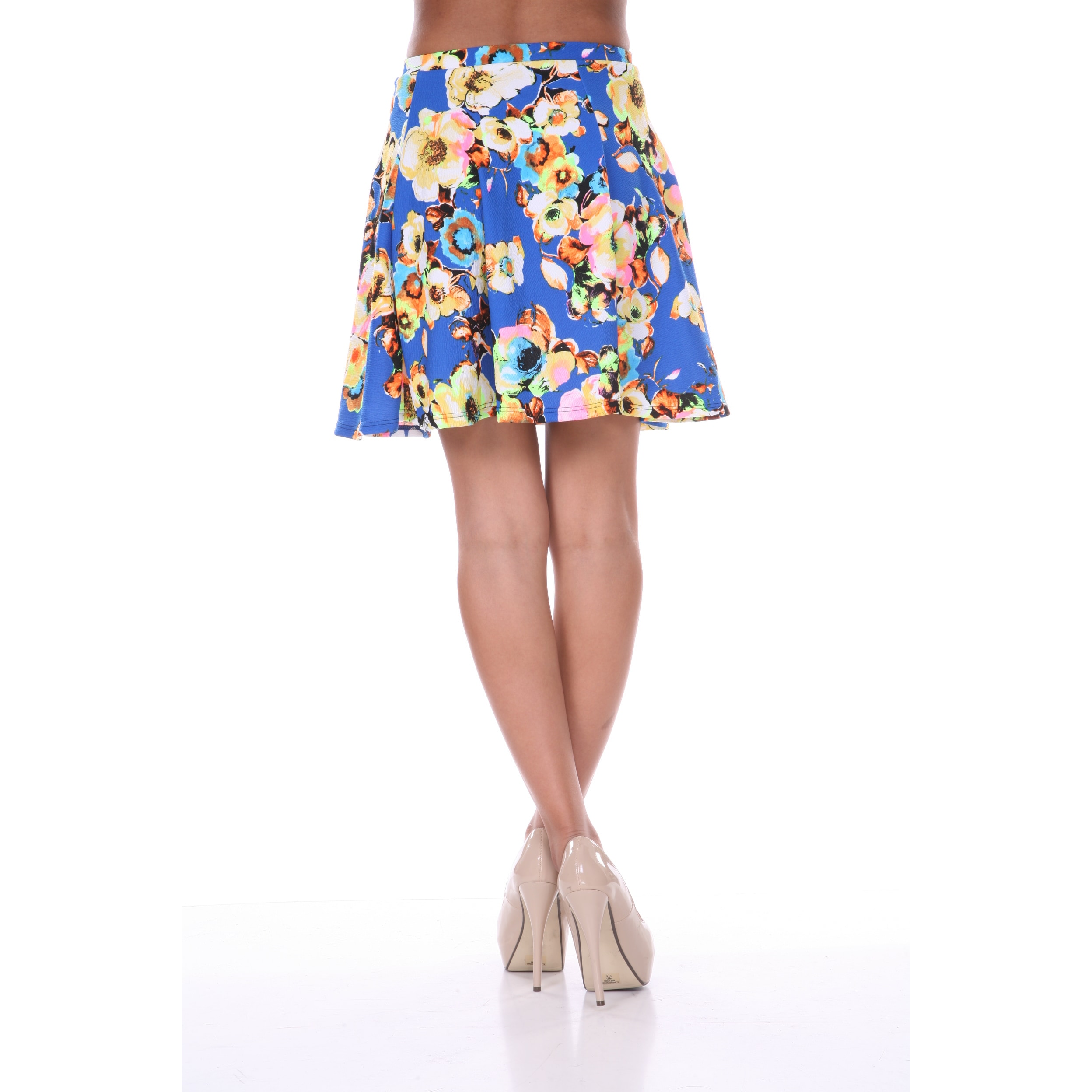 Shop White Mark Womens Floral Print Flared Mini Skirt On Sale
