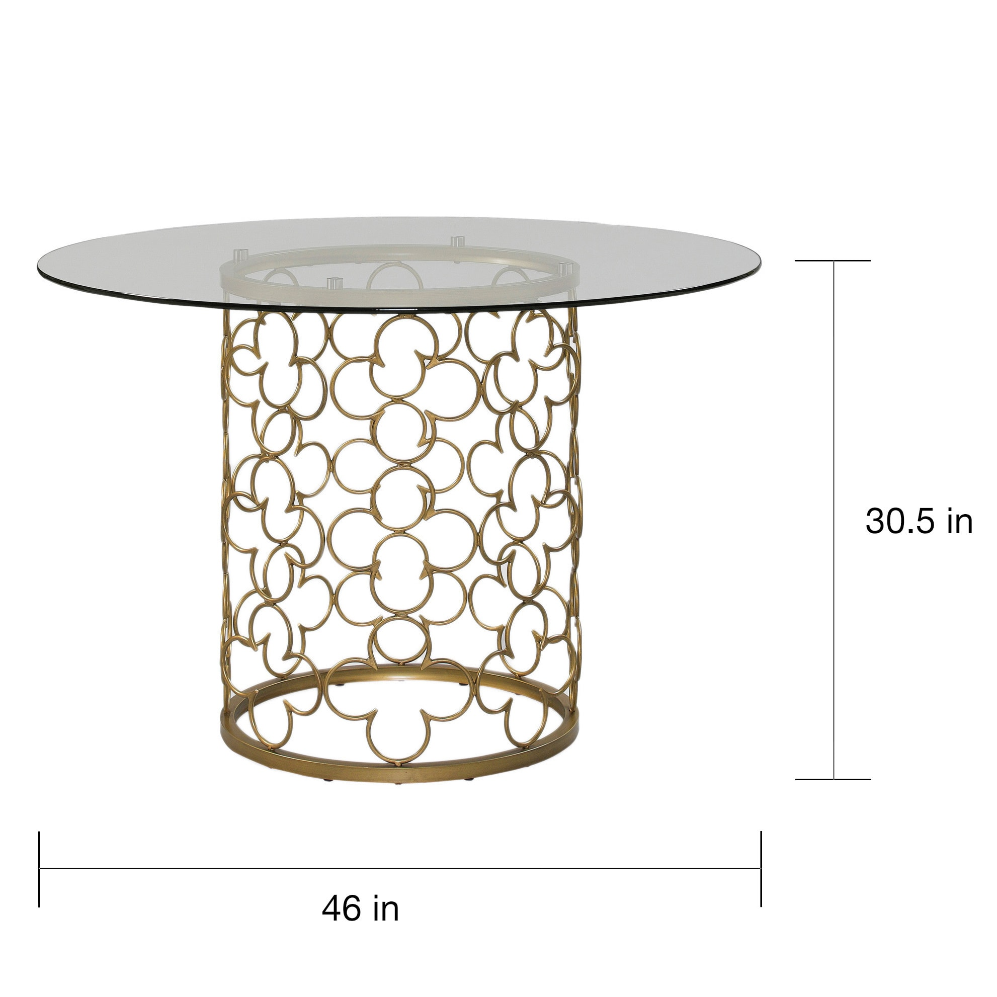 Shop The Curated Nomad Quatrefoil Brush Gold Dining Table   Free Shipping  Today   Overstock.com   9330059