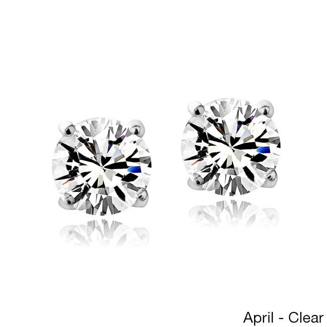 cdbd7722b Shop Crystal Ice Sterling Silver Birthstone 6mm Stud Earrings Made with Swarovski  Crystal - On Sale - Free Shipping On Orders Over $45 - Overstock - 9330733
