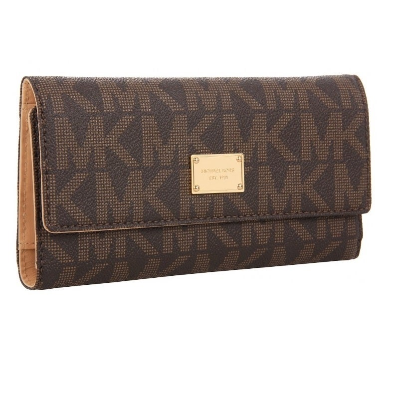 a44f8bac627f Shop Michael Kors Jet Set Signature Checkbook Wallet - Free Shipping Today  - Overstock - 9331828