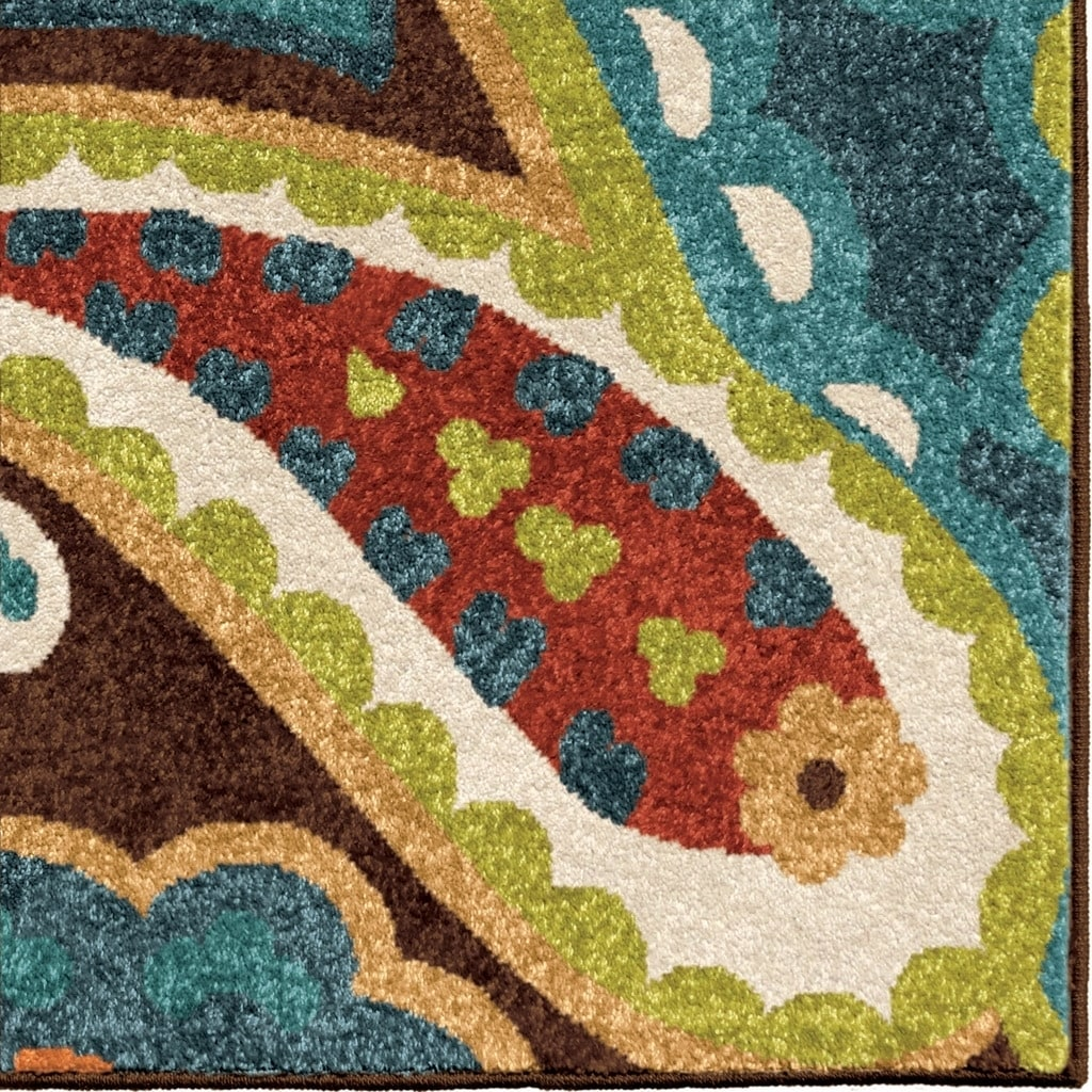 Indoor/Outdoor Floral Rainbow Multi Rug By Carolina Weavers - 5'2 x 7'6 -  Free Shipping Today - Overstock.com - 16505606