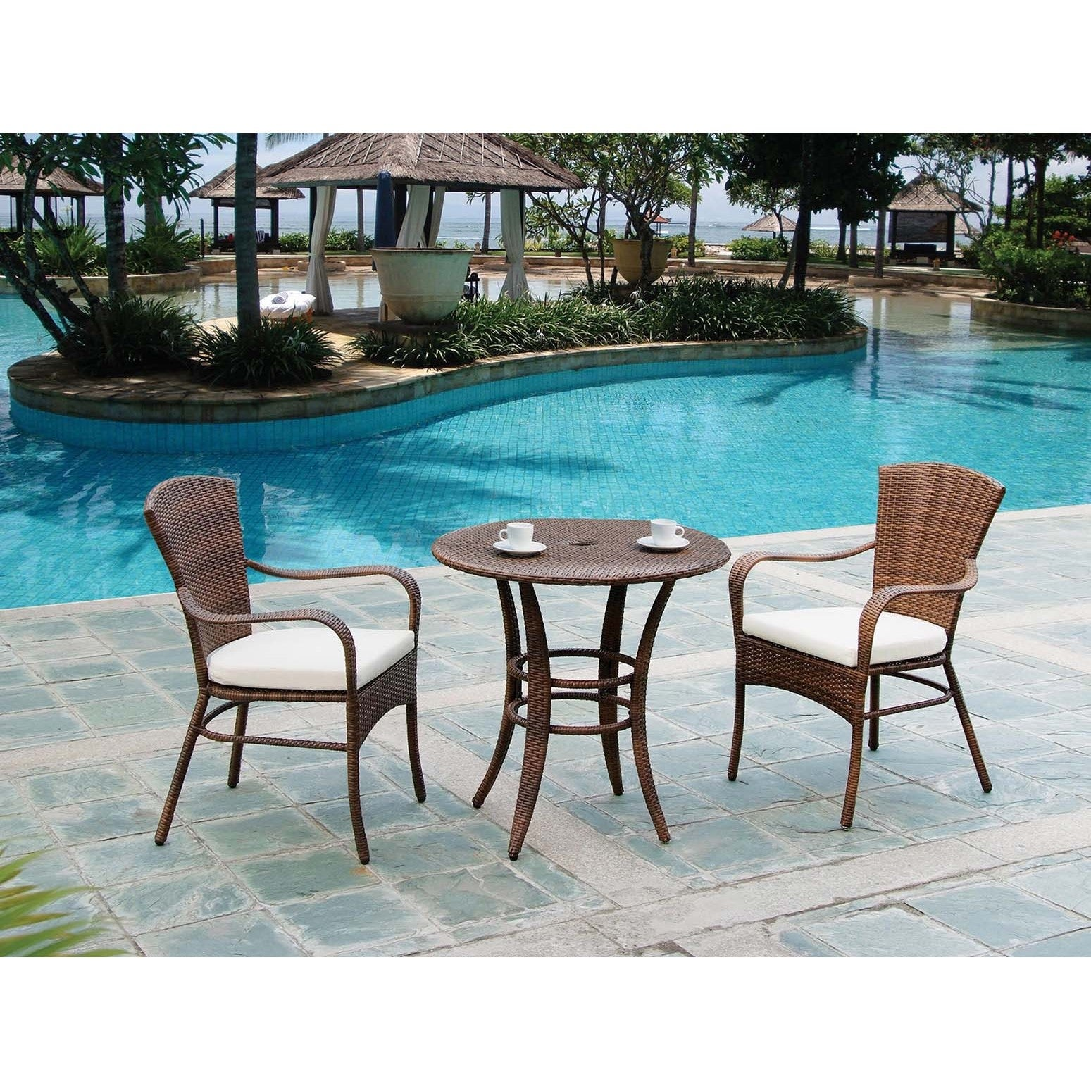 Panama Jack Key Biscayne 3 Piece Bistro Set With Cushions