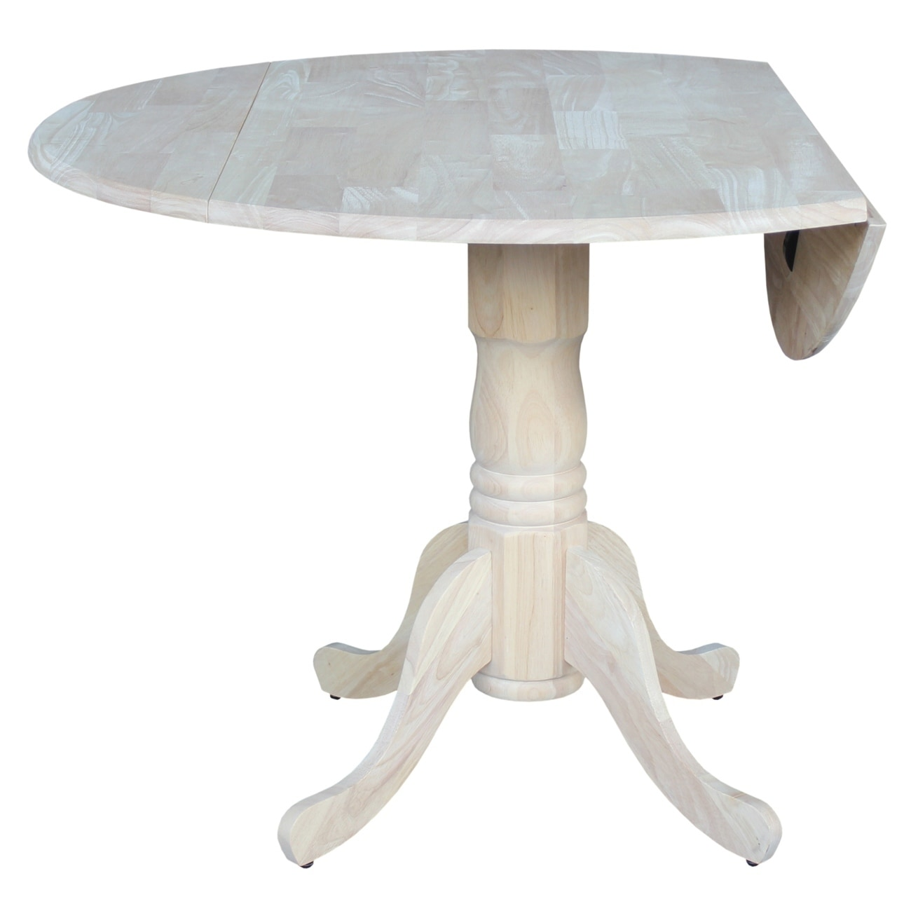 Shop International Concepts Unfinished Parawood 42 Inch Round Dual  Drop Leaf Dining Table   Free Shipping Today   Overstock.com   9332739
