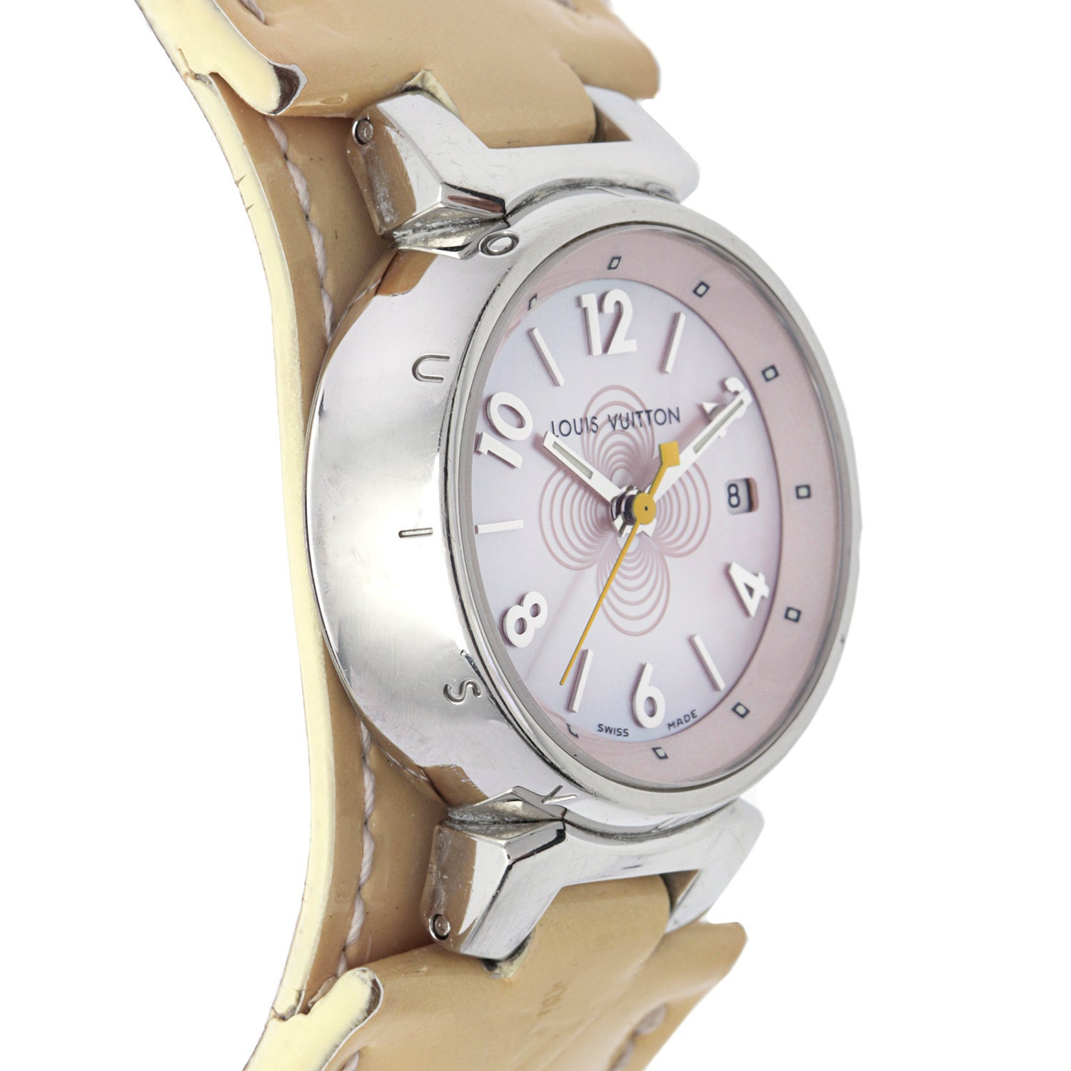 b896f6ca14f6 Shop Pre-Owned Louis Vuitton Women s Beige Leather Watch - Free Shipping  Today - Overstock - 9344841