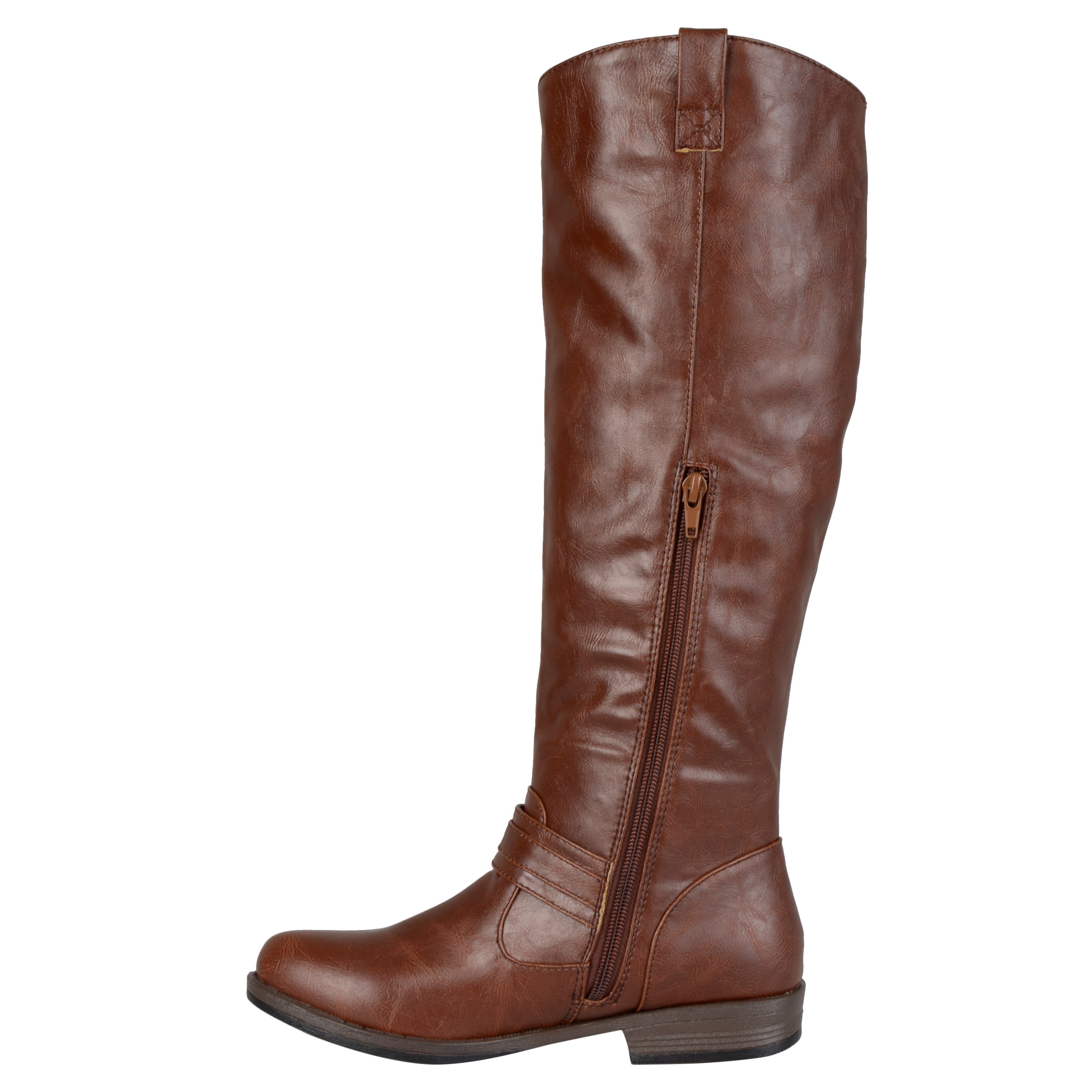 Journee Collection Women's 'Kai' Regular and Wide-calf Ankle-strap  Square-Buckle Riding Boot - Free Shipping On Orders Over $45 -  Overstock.com - 16539999