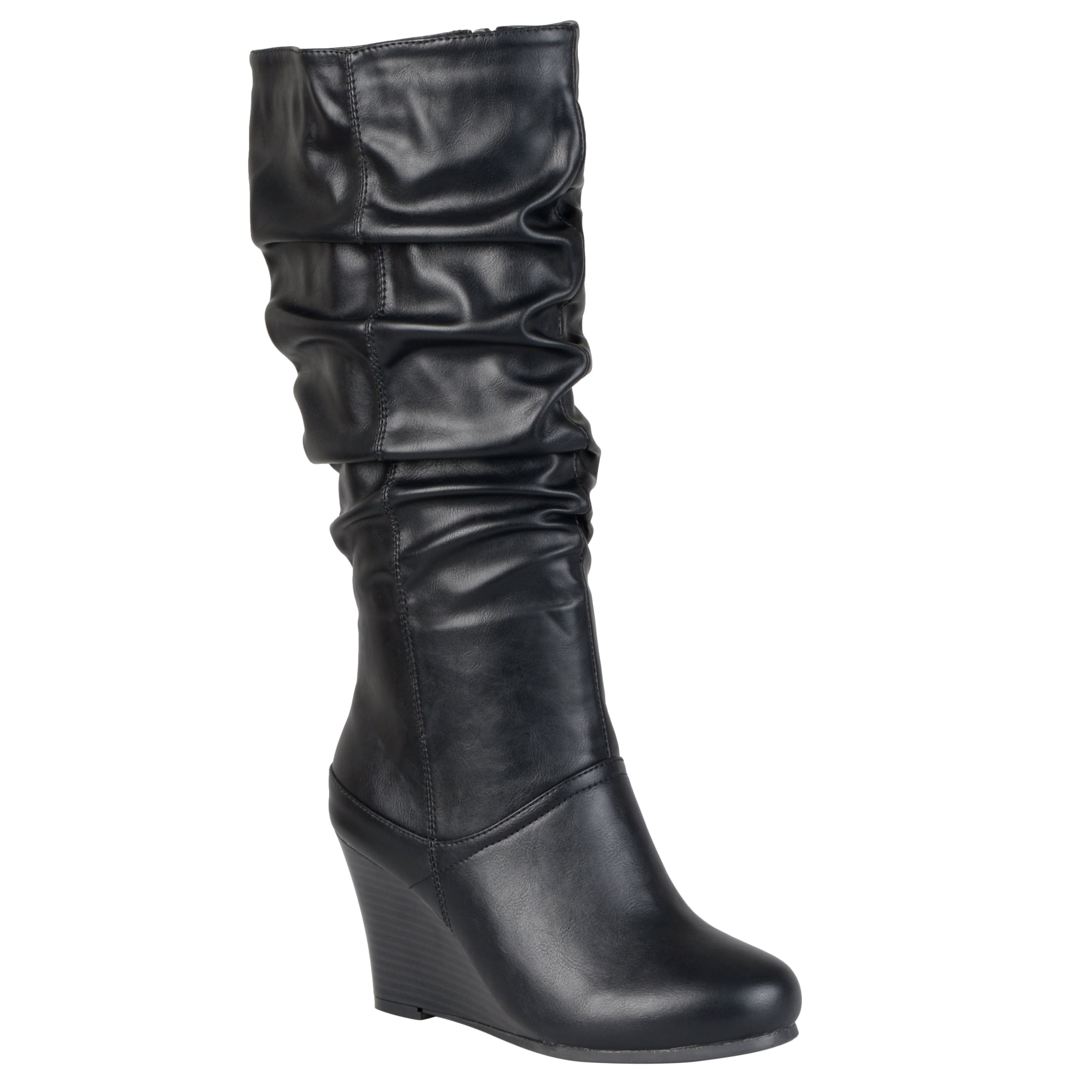 Women's Waterproof Solid Round Toe Slouchy Pull On Mid Calf High Wedge Heel Boots