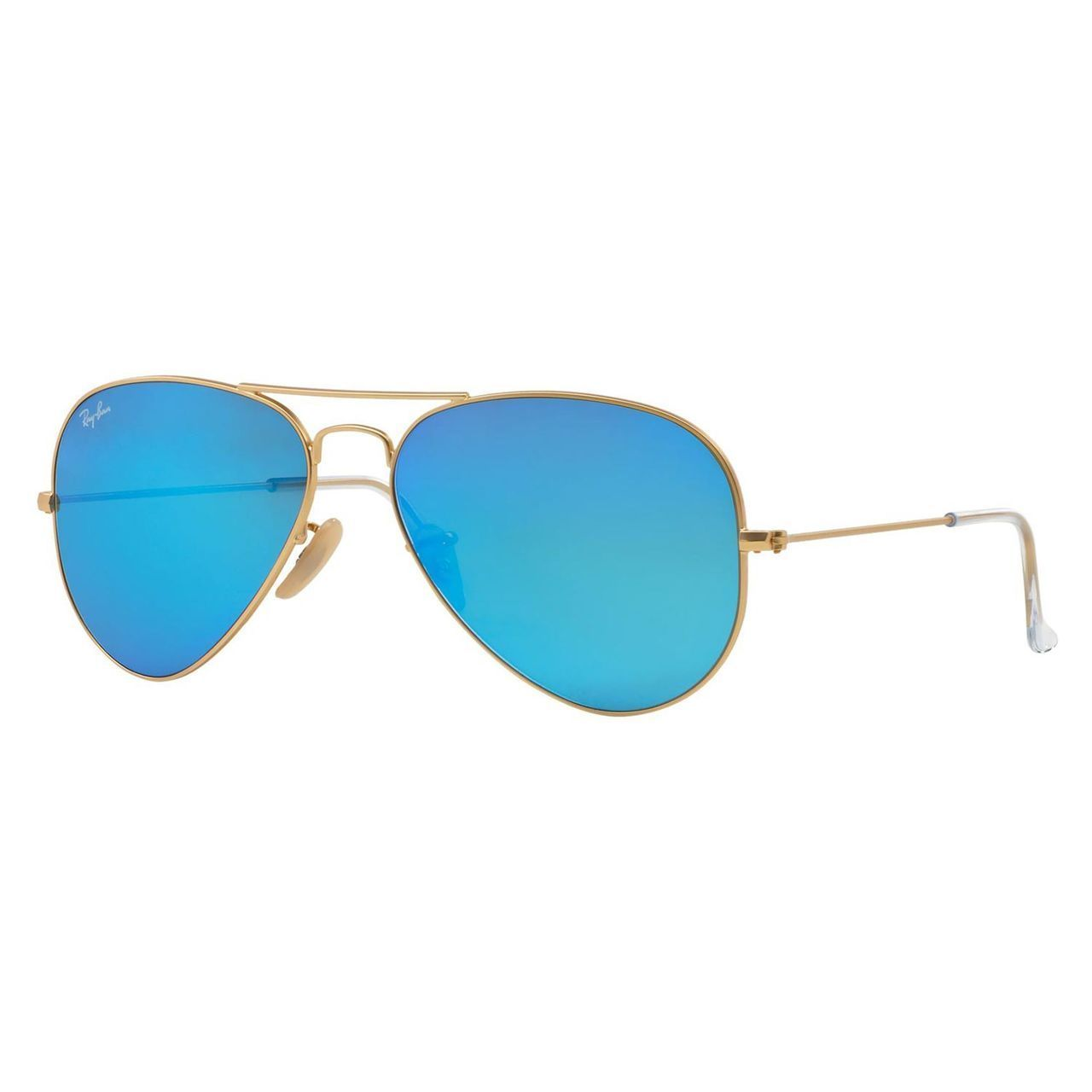 33d08fbb1f5 Ray- Ban Aviator RB 3205 Unisex Gold Frame Blue Mirror Lens Sunglasses