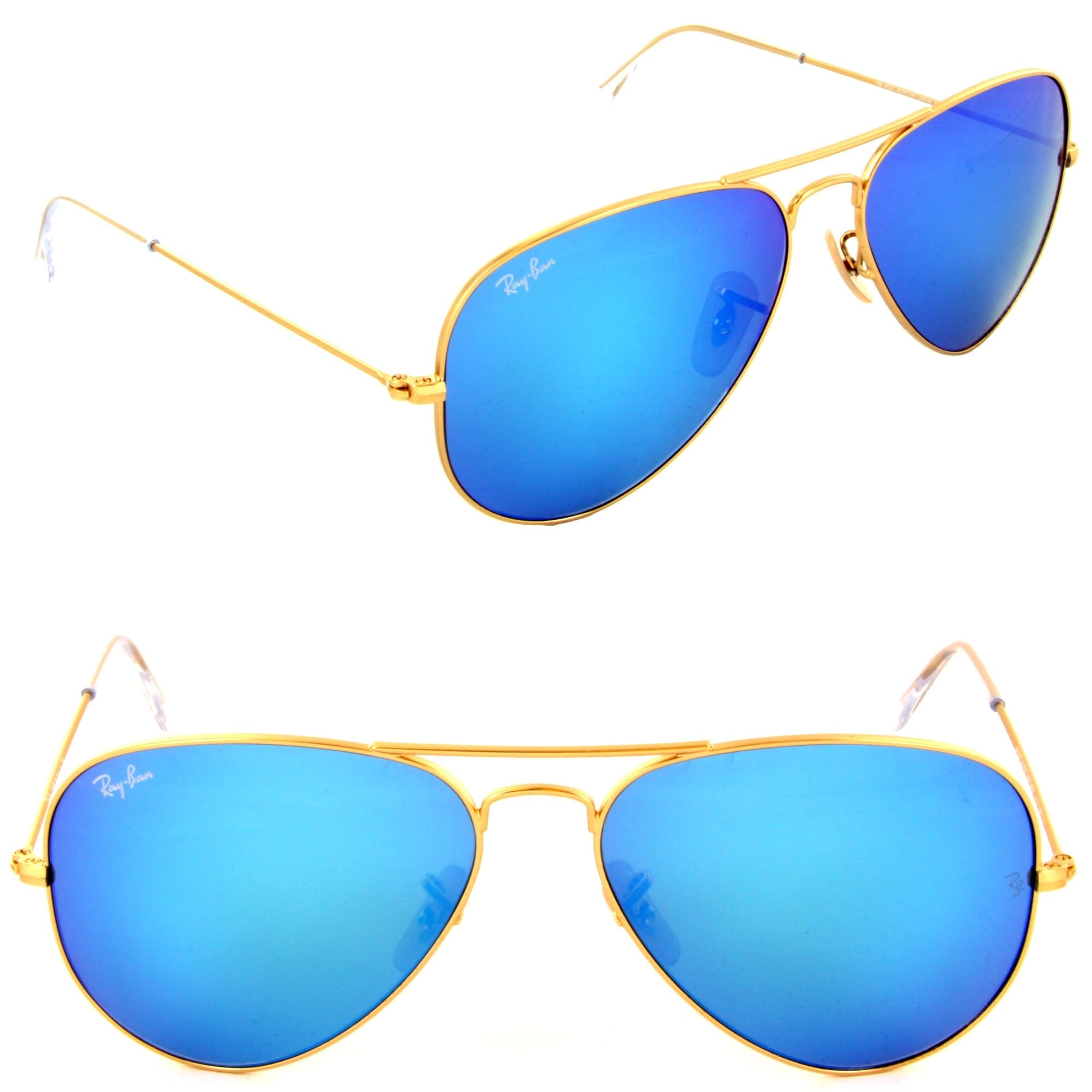 106e5ff846e3d Shop Ray- Ban Aviator RB 3205 Unisex Gold Frame Blue Mirror Lens Sunglasses  - Free Shipping Today - Overstock - 9348681