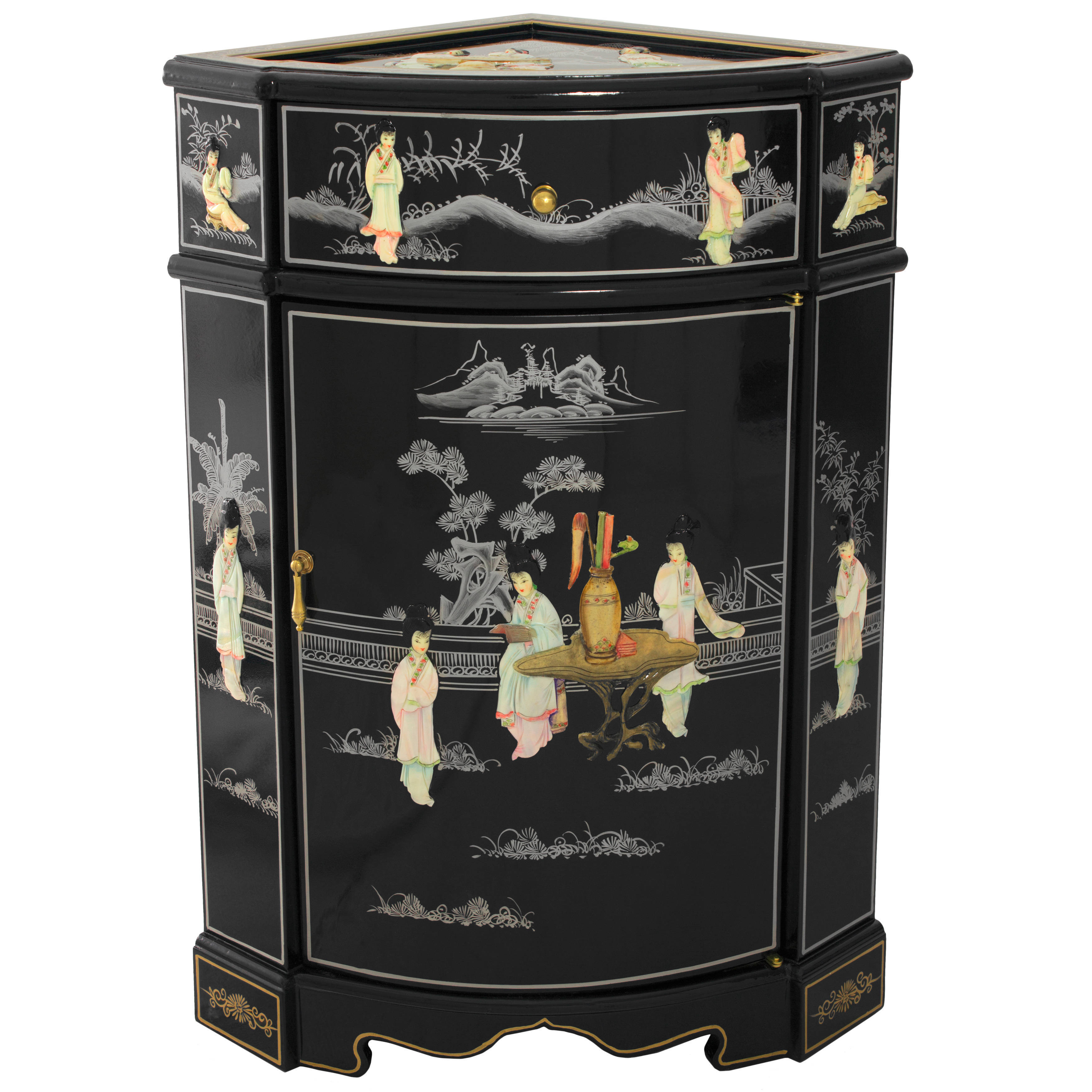 Black laquer furniture Traditional Japanese Shop Handmade Black Lacquer Mother Of Pearl Ladies Corner Cabinet china Free Shipping Today Overstockcom 9351807 Overstock Shop Handmade Black Lacquer Mother Of Pearl Ladies Corner Cabinet