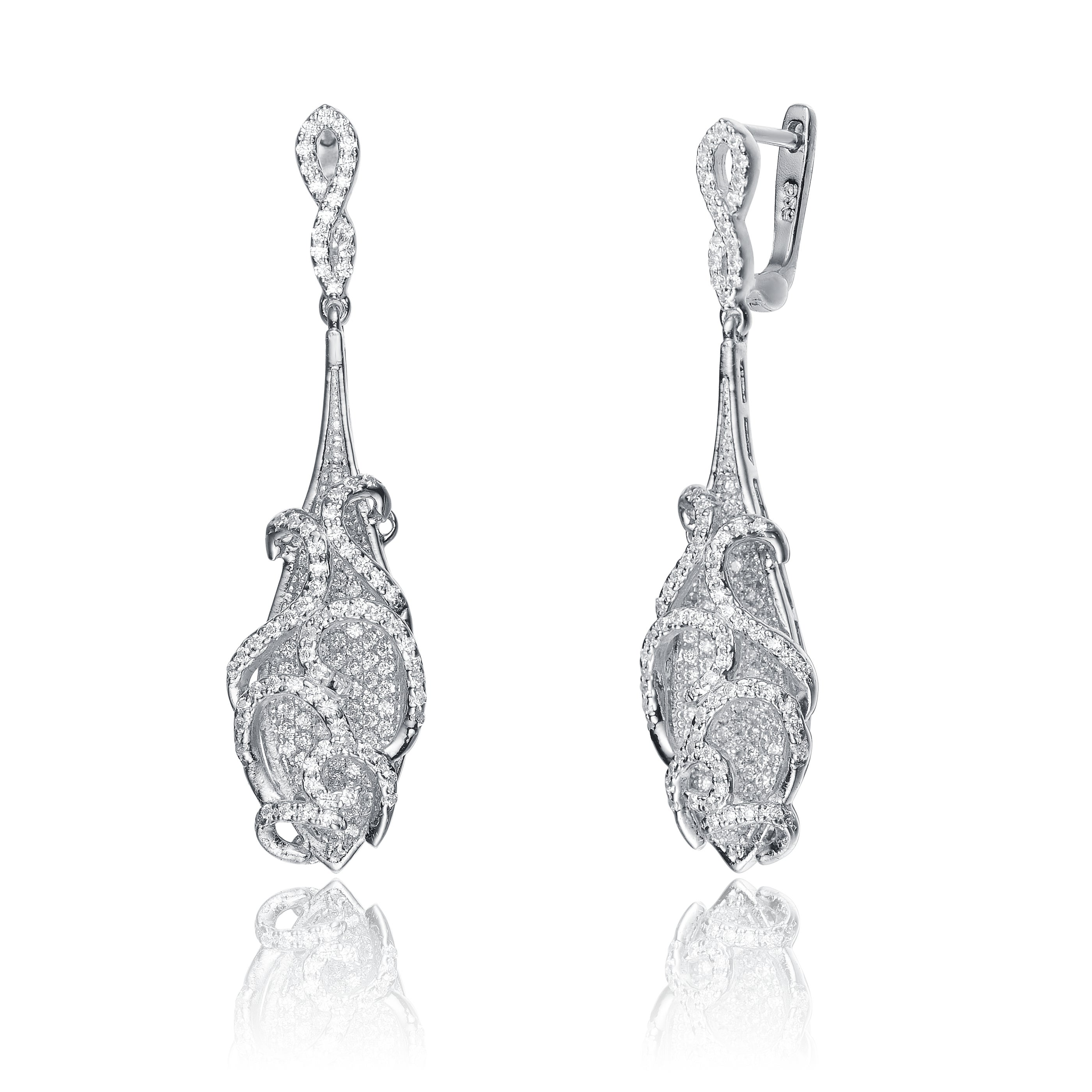 Collette Z Sterling Silver Cubic Zirconia Long Elegant Earrings On Free Shipping Today 9352105