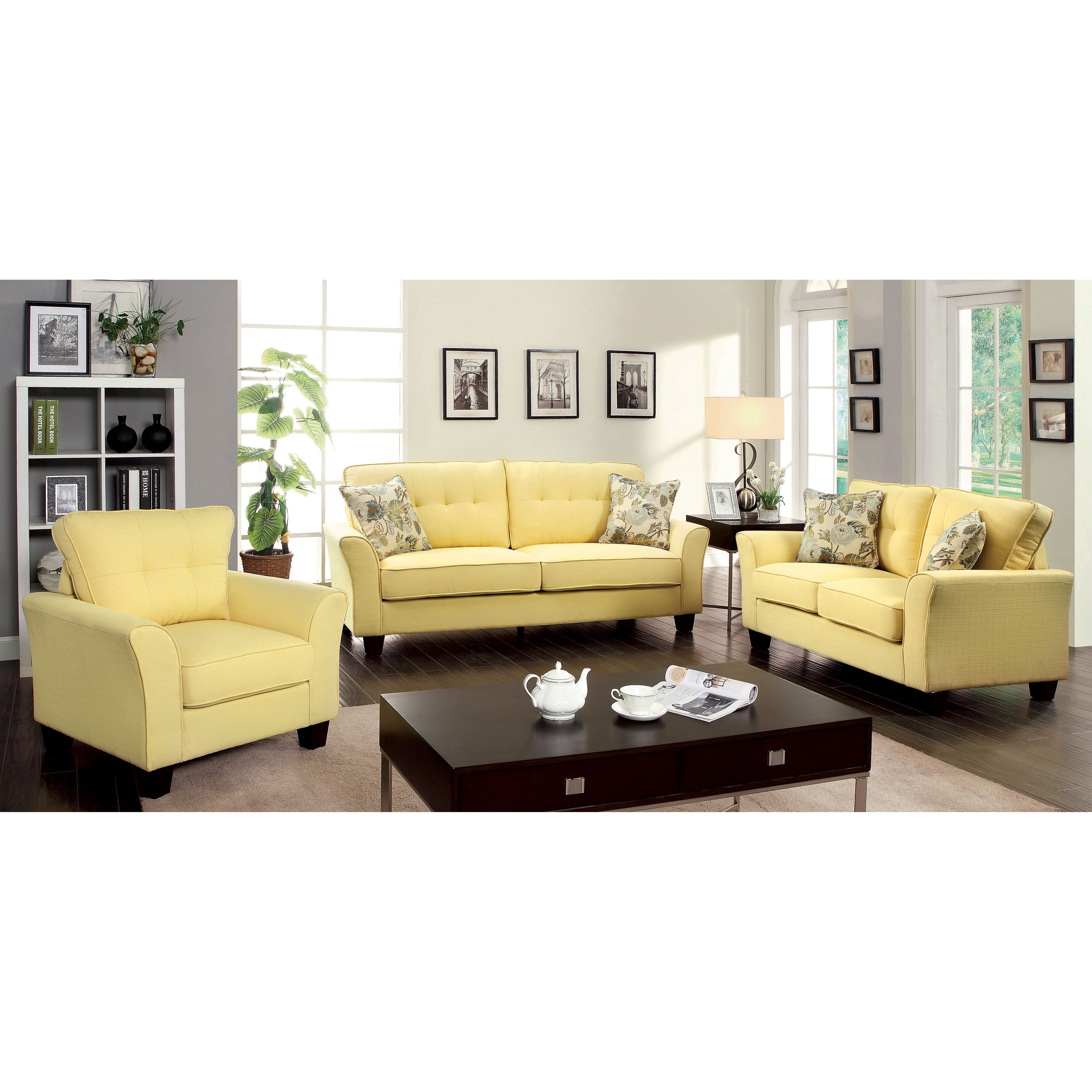 Furniture Of America Primavera Modern 3 Piece Linen Living Room Set   Free  Shipping Today   Overstock   16545101