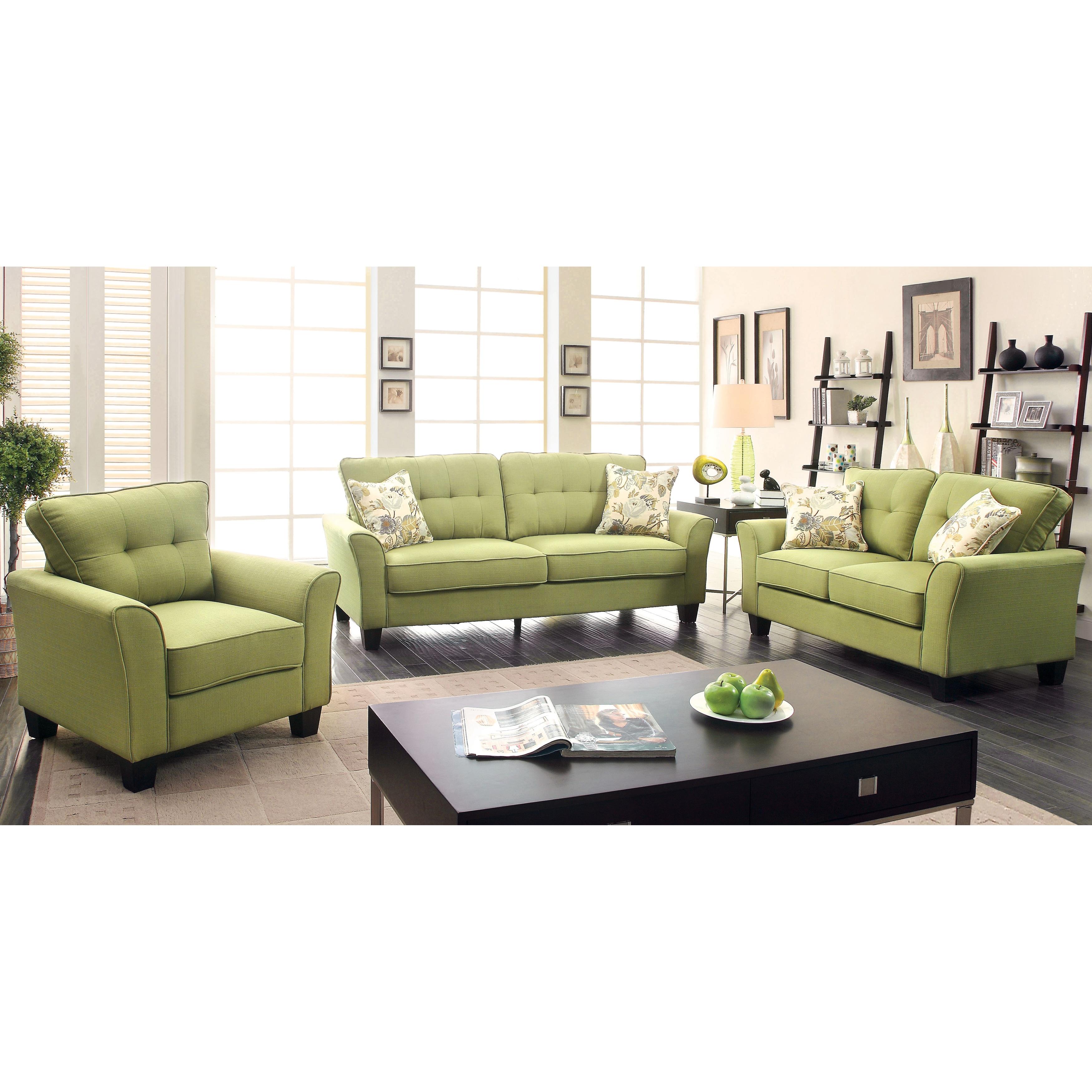 Furniture of America Primavera Modern 3-Piece Linen Living Room Set ...