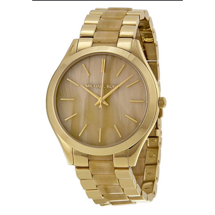 ea219a2e3d03 Shop Michael Kors Women s MK4285  Runway  Champagne Dial Stainless Steel  Watch - Free Shipping Today - Overstock - 9353984
