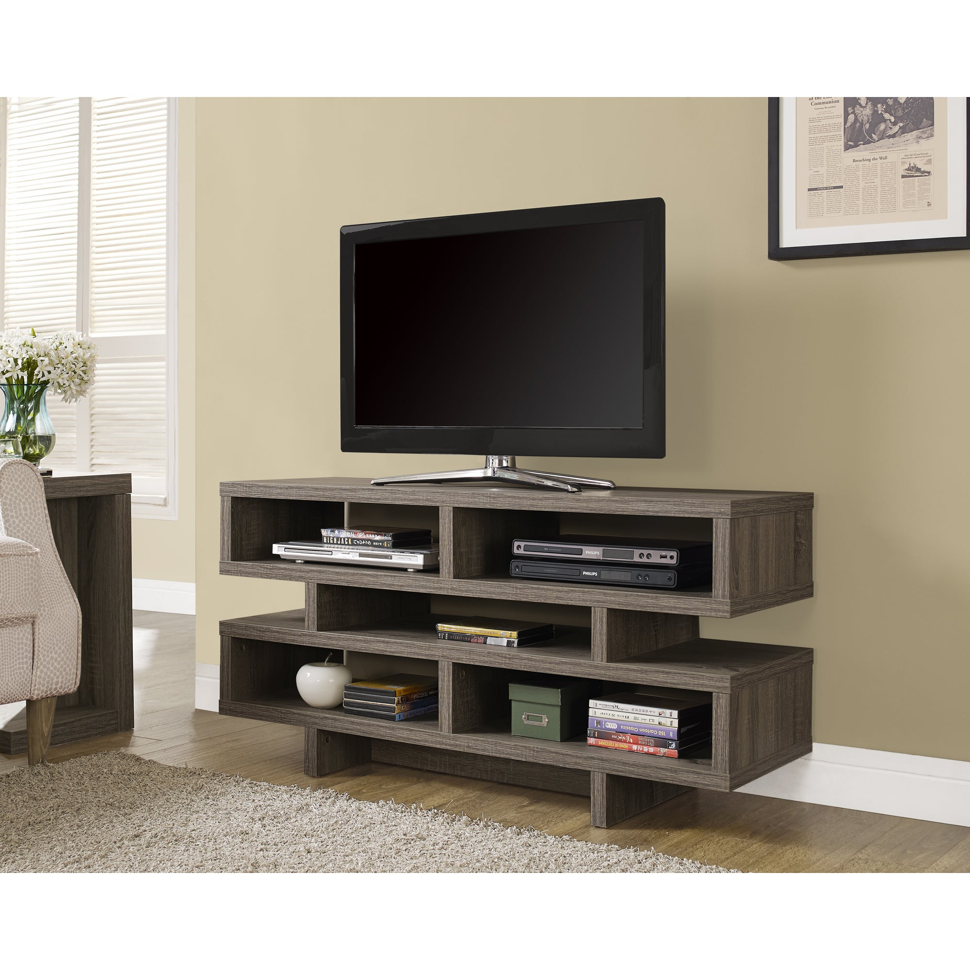 Shop Dark Taupe Reclaimed look Hollow core TV Console