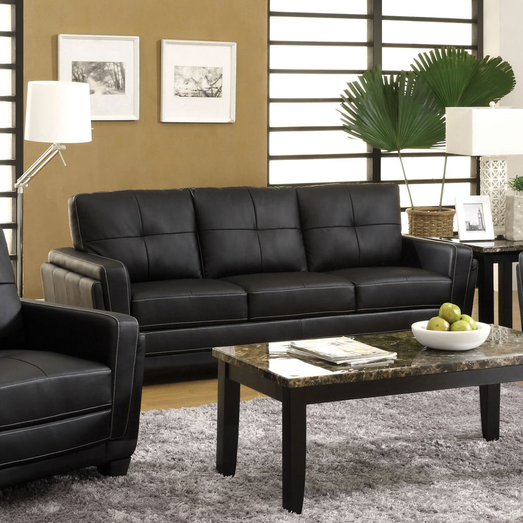 Shop furniture of america bedford tufted black leather sofa free shipping today overstock com 9357565
