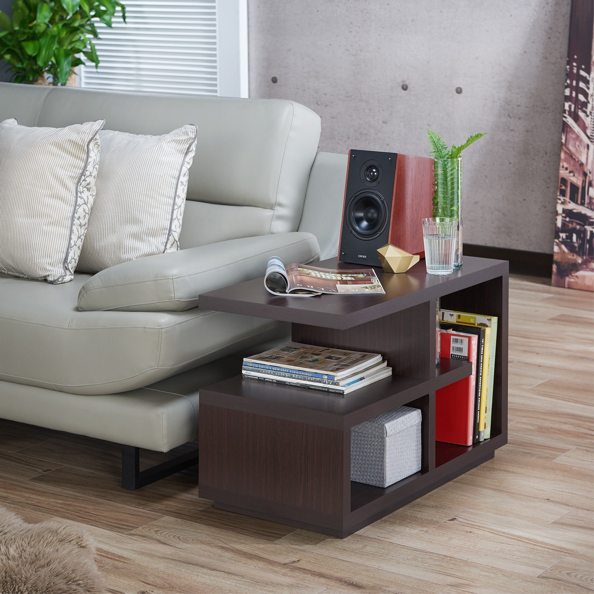 Furniture Of America Euclidor Modern Walnut End Table   Free Shipping Today    Overstock.com   16550220