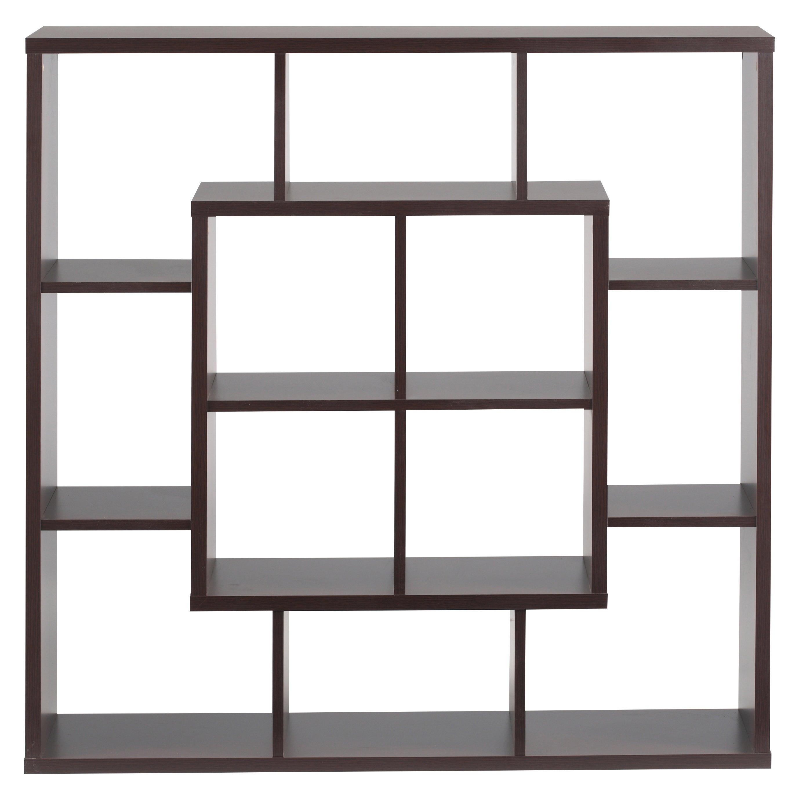Shop Furniture Of America Aydan Walnut Wood Modern Square Bookshelf Room Divider