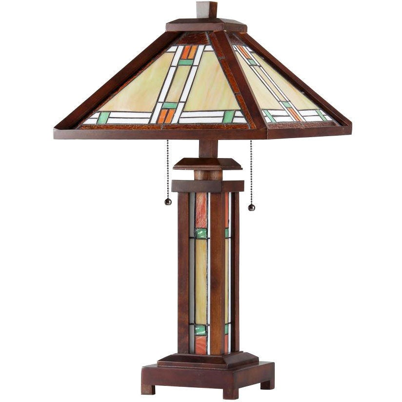 Shop Tiffany Style Mission Double Lit 2 And 1 Light Bronze Table