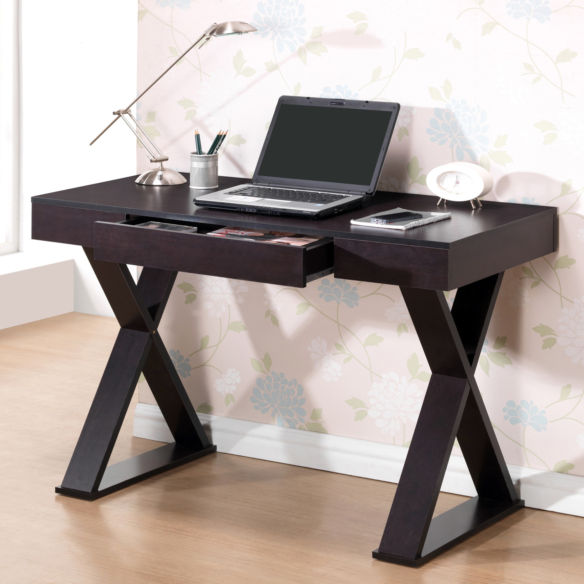 Shop Modern Designs Home Office Espresso X Leg Laptop Computer Desk   Free  Shipping Today   Overstock.com   9357965